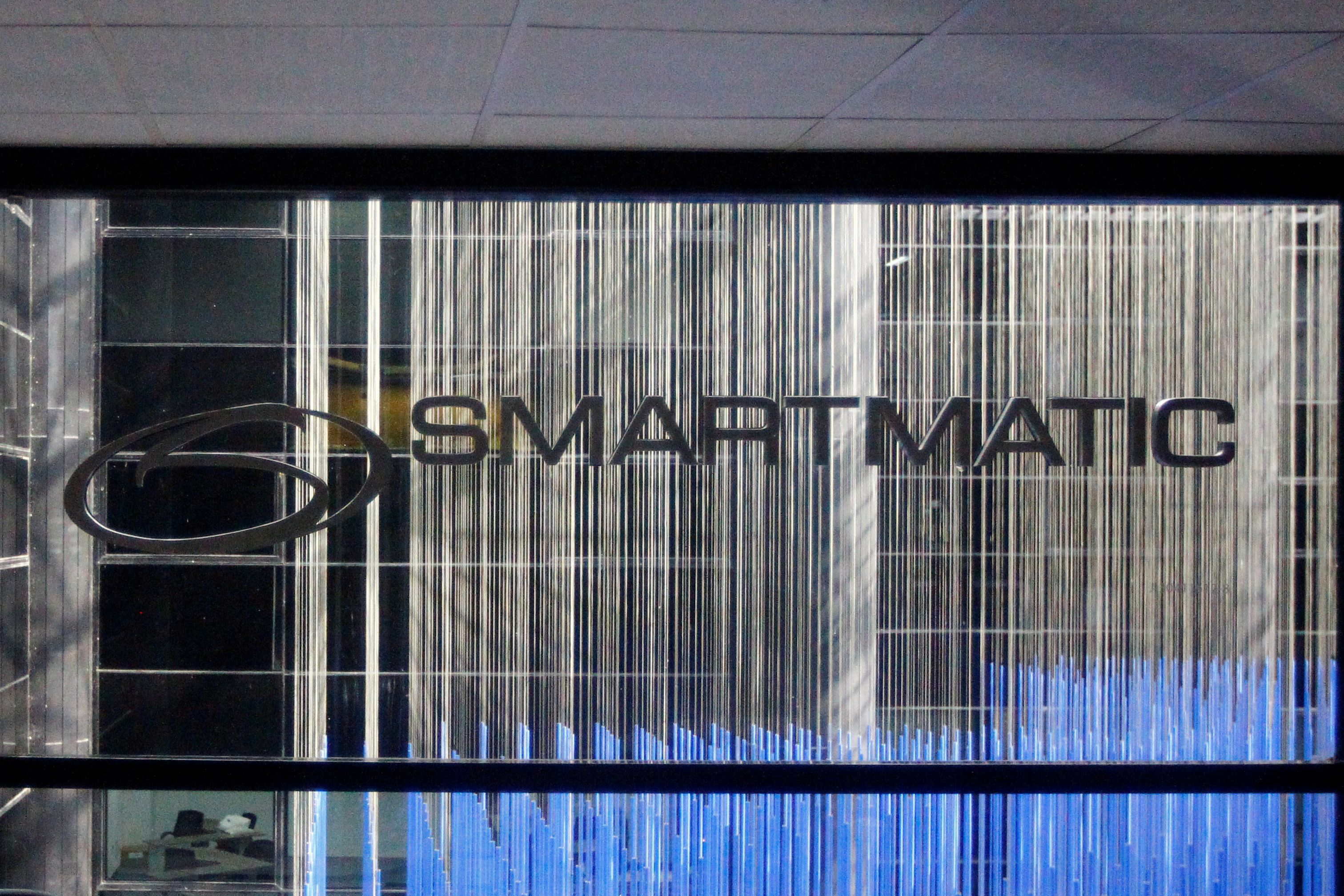 The corporate logo of Smartmatic is seen at its offices in Caracas, Venezuela August 2, 2017. REUTERS/Christian Veron/File Photo