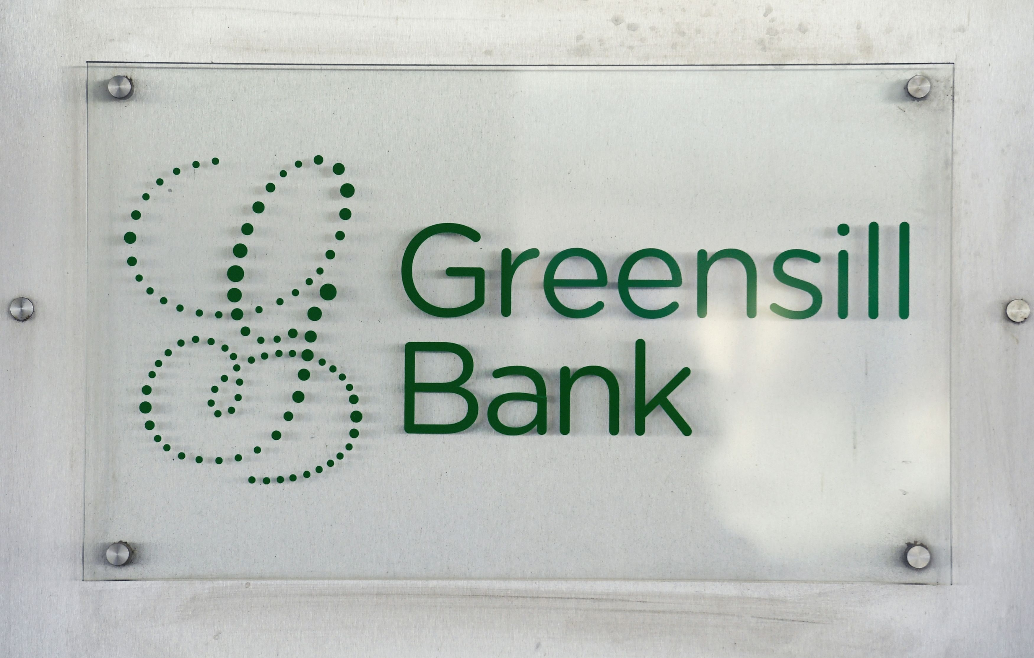 The logo of  Greensill Bank is pictured in downtown Bremen, Germany, July 3, 2019. REUTERS/Fabian Bimmer