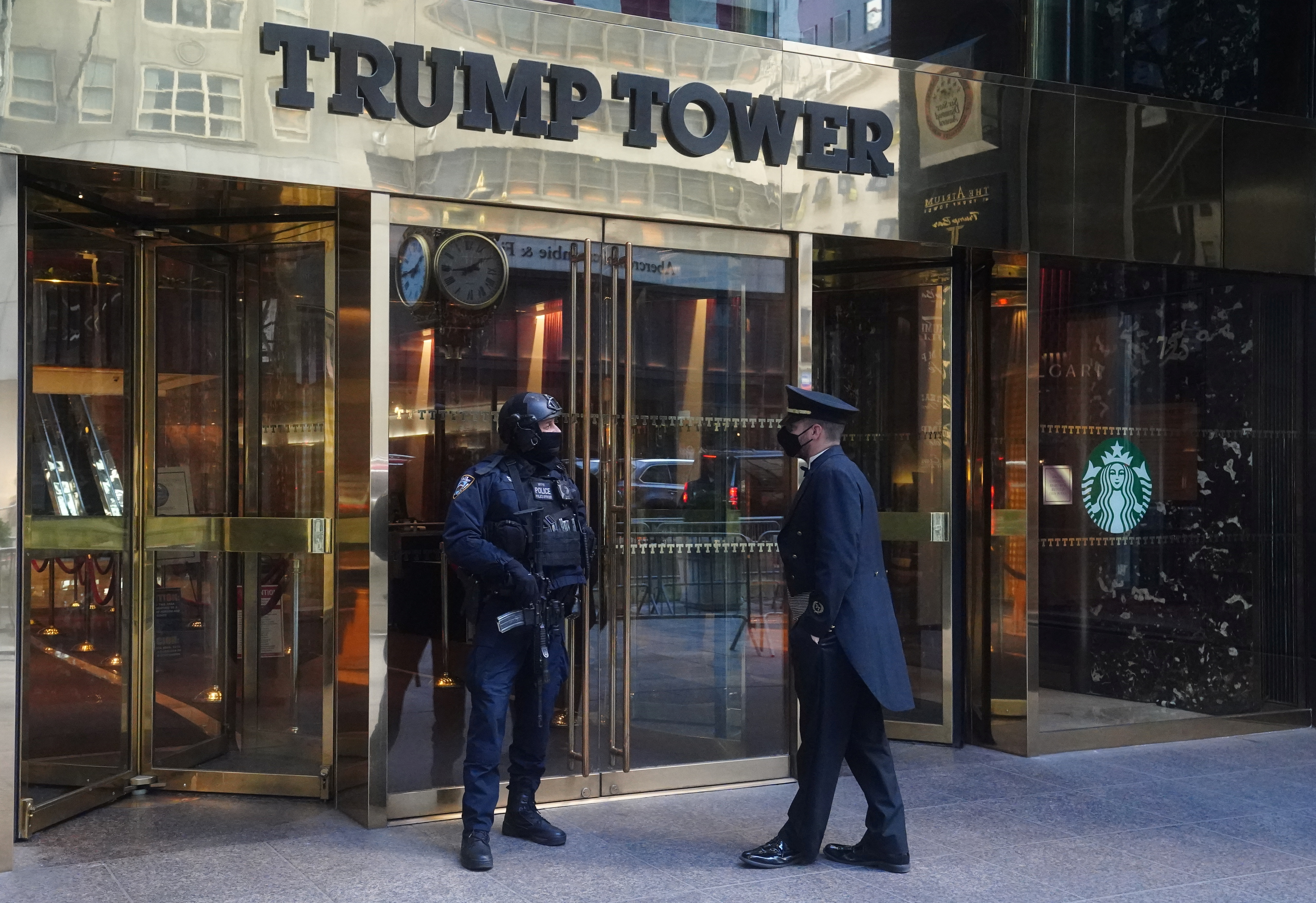 Trump Tower entrance is pictured amid the coronavirus disease (COVID-19) pandemic in the Manhattan borough of New York City, New York, U.S., January 20, 2021. REUTERS/Carlo Allegri