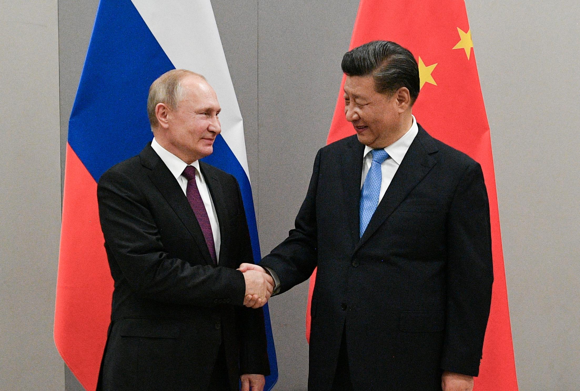 Russian President Vladimir Putin shakes hands with Chinese President Xi Jinping during their meeting on the sidelines of a BRICS summit, in Brasilia, Brazil, November 13, 2019.  Sputnik/Ramil Sitdikov/Kremlin via REUTERS