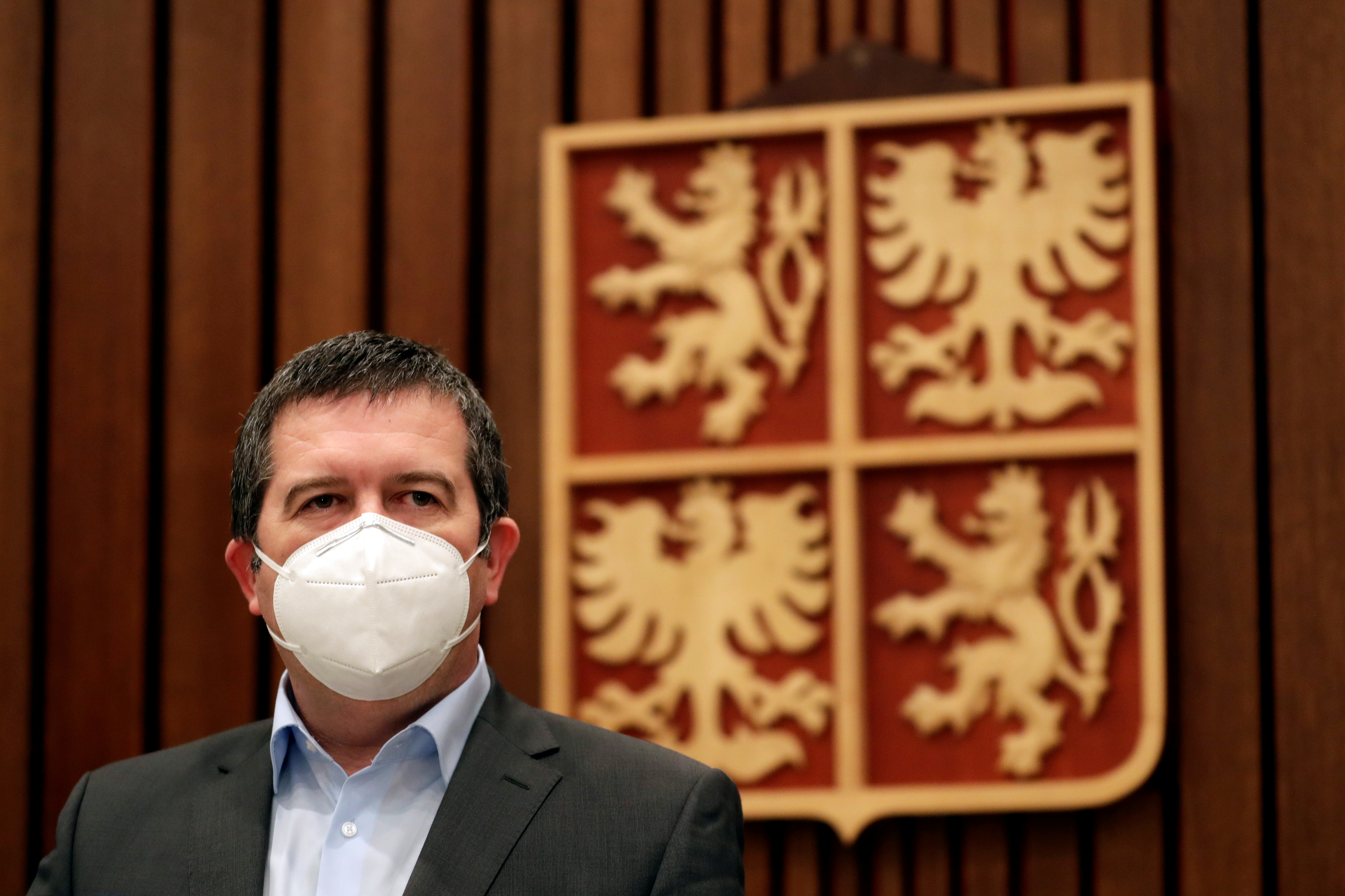 Czech Minister of Foreign Affairs Jan Hamacek arrives to welcome Czech diplomats expelled from Russia at Vaclav Havel Airport in Prague, Czech Republic April 19, 2021. REUTERS/David W Cerny