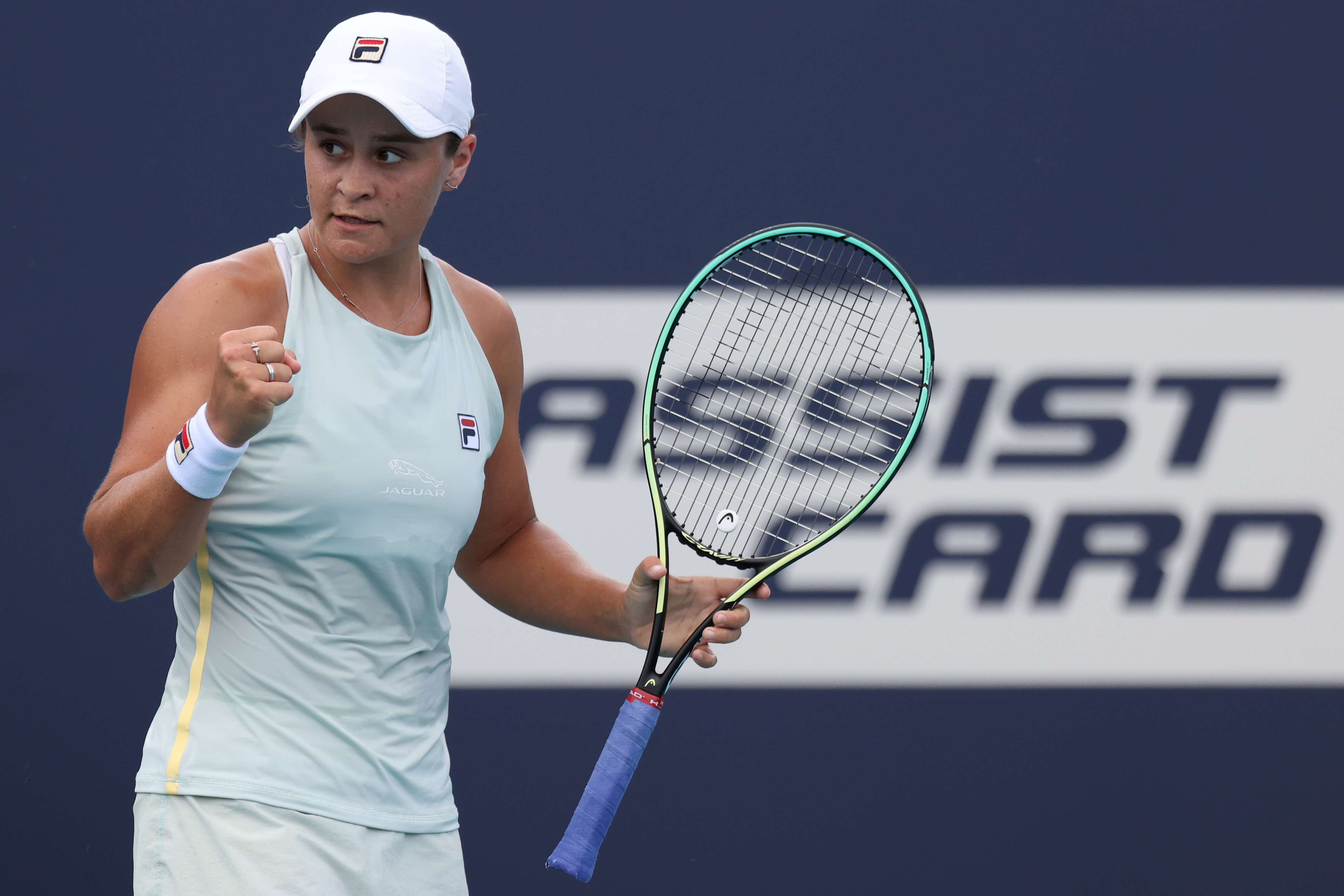 Mar 29, 2021; Miami, Florida, USA; Ashleigh Barty of Australia reacts after winning the first set against Victoria Azarenka of Belarus (not pictured) in the fourth round in the Miami Open at Hard Rock Stadium. Mandatory Credit: Geoff Burke-USA TODAY Sports