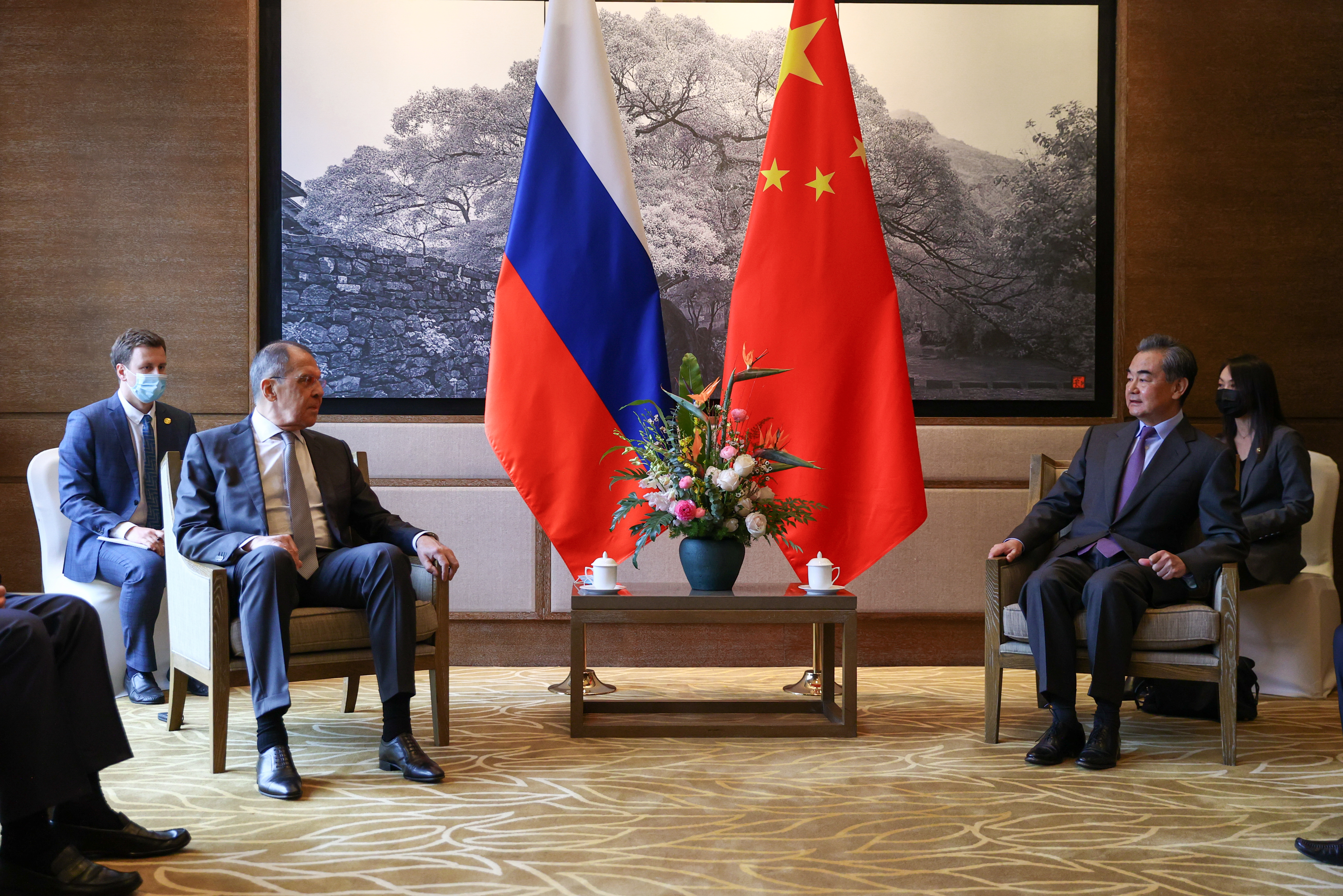 Russia's Foreign Minister Sergei Lavrov attends a meeting with China's State Councilor and Foreign Minister Wang Yi in Guilin, China March 22, 2021. Russian Foreign Ministry/Handout via REUTERS