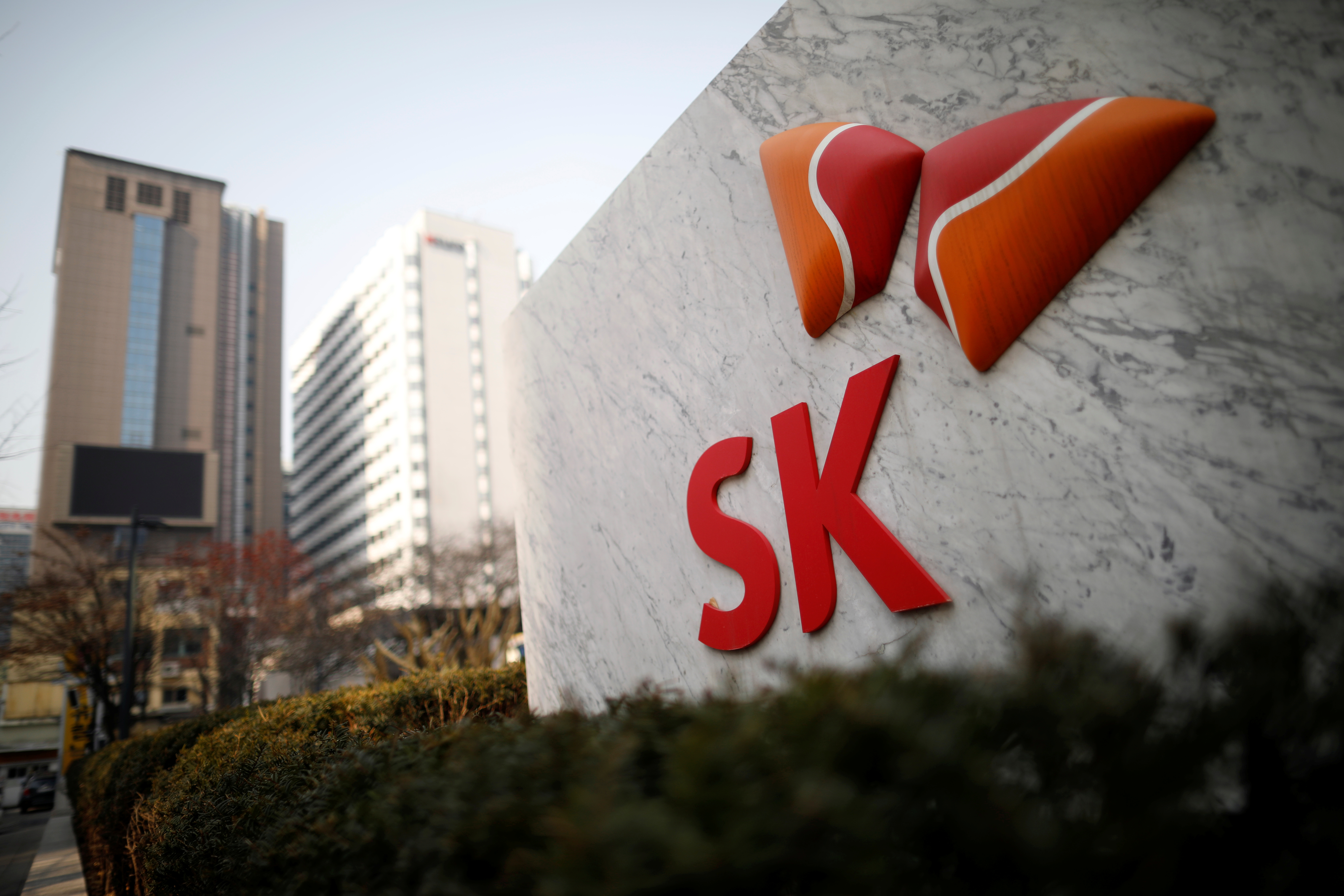 The logo of SK Innovation is seen in front of its headquarters in Seoul, South Korea, February 3, 2017.  REUTERS/Kim Hong-Ji/Files