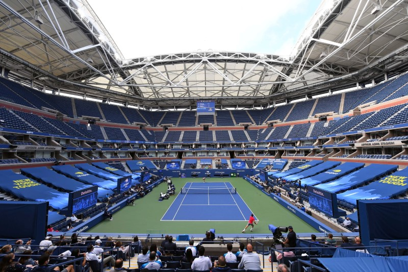 Sep 13, 2020; Flushing Meadows, New York, USA; General view of Arthur Ashe Stadium during the Dominic Thiem of Austria match against Alexander Zverev of Germany in the men's singles final match on day 14 of the 2020 U.S. Open tennis tournament at USTA Billie Jean King National Tennis Center. Mandatory Credit: Robert Deutsch-USA TODAY Sports/File Photo