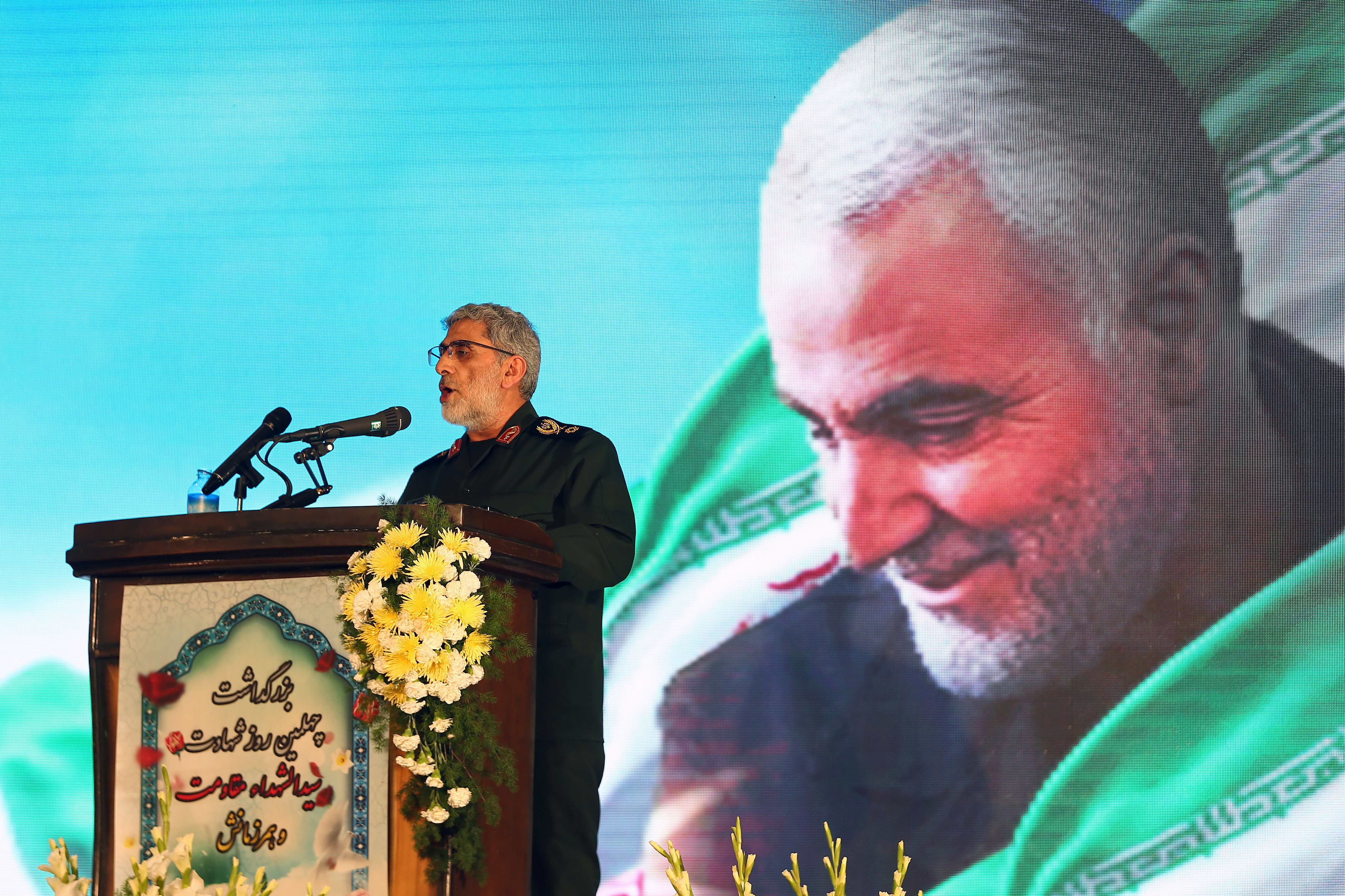 Brigadier General Esmail Ghaani, the newly appointed commander of Iran's Quds Force, reads the will of Major General Qassem Soleimani, who was killed in a U.S. air strike at Baghdad Airport, during the forty day memorial at the Grand Mosalla in Tehran, Iran February 13, 2020. Nazanin Tabatabaee/WANA (West Asia News Agency) via REUTERS
