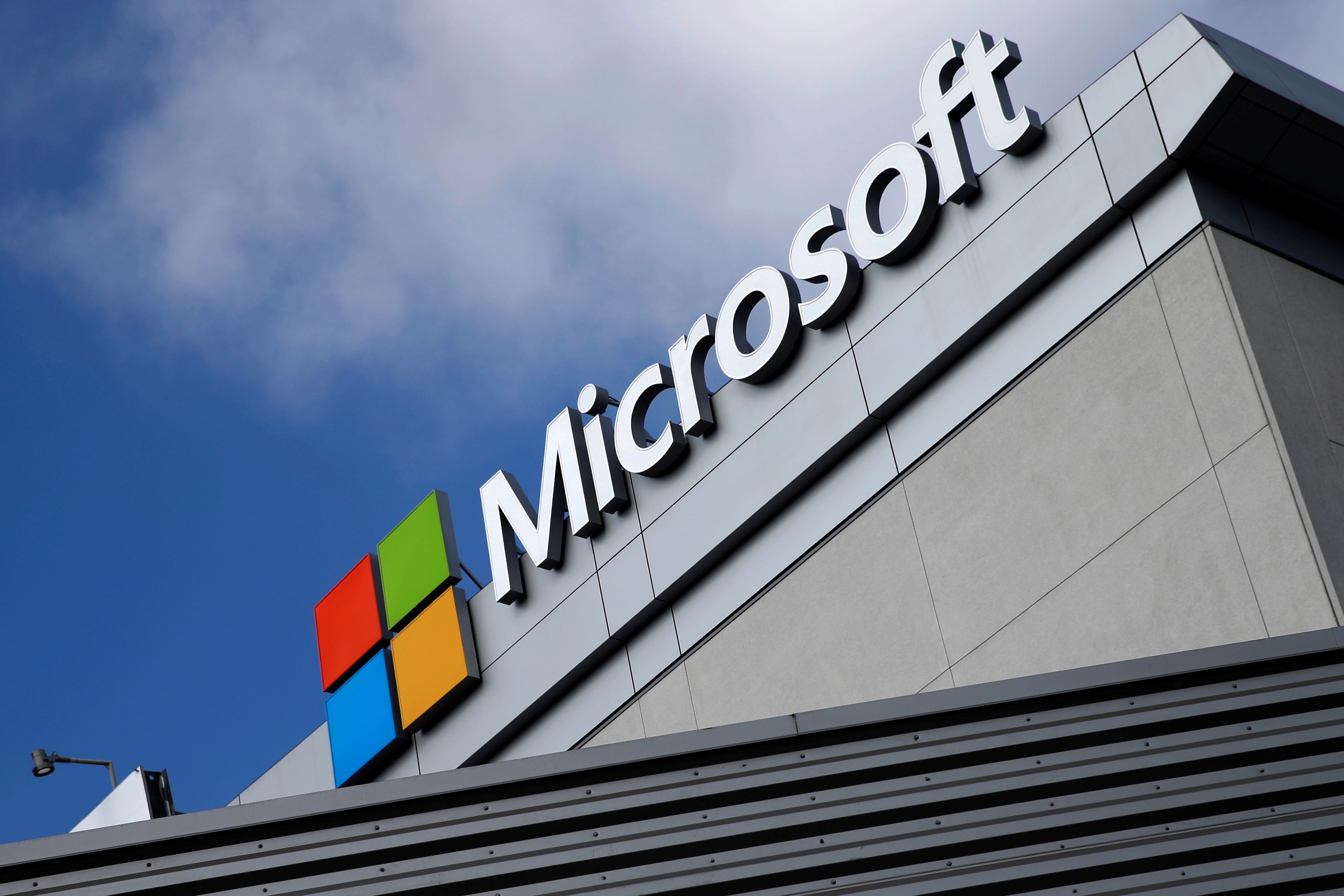 A Microsoft logo is seen a day after Microsoft Corp's $26.2 billion purchase of LinkedIn Corp, in Los Angeles, California, U.S. June 14, 2016. REUTERS/Lucy Nicholson/File Photo