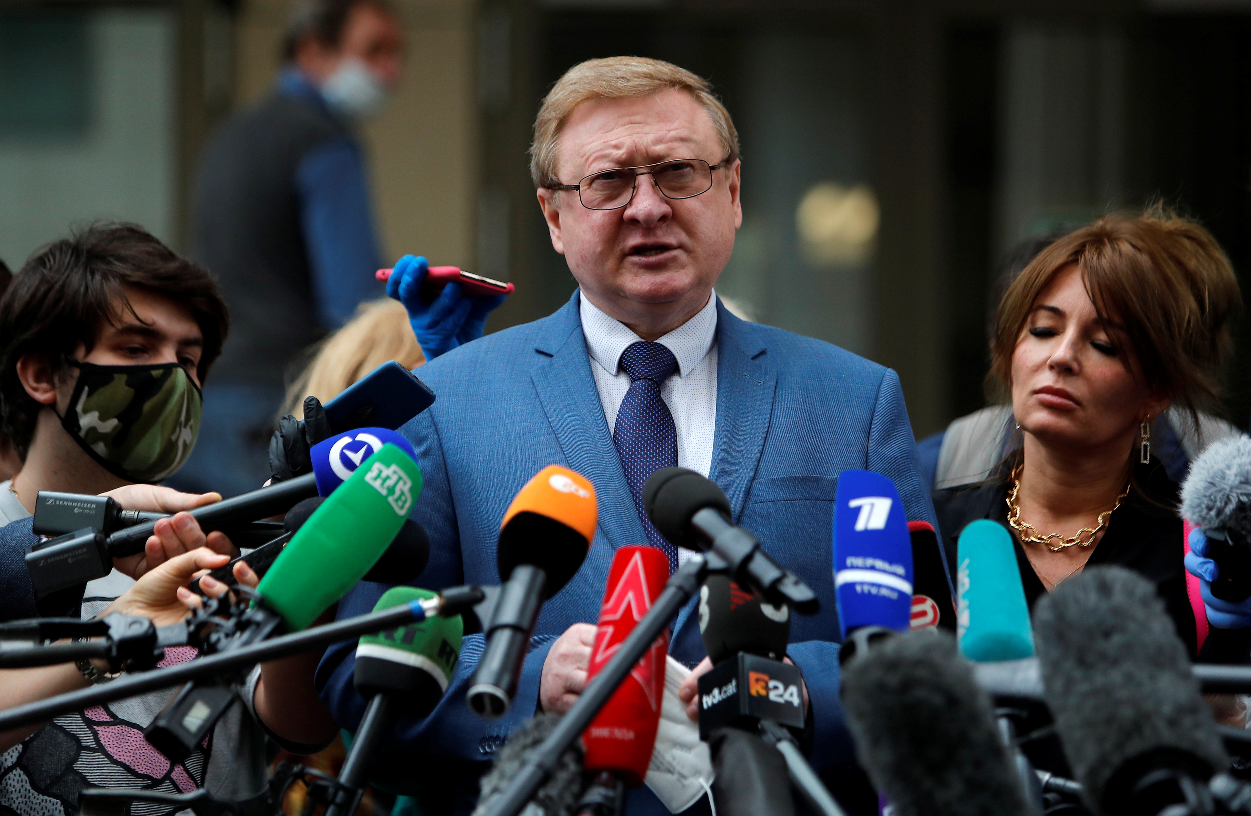 Vladimir Zherebenkov, lawyer of former U.S. Marine Paul Whelan, who was detained and accused of espionage, addresses the media in Moscow, Russia June 15, 2020. REUTERS/Maxim Shemetov/File Photo
