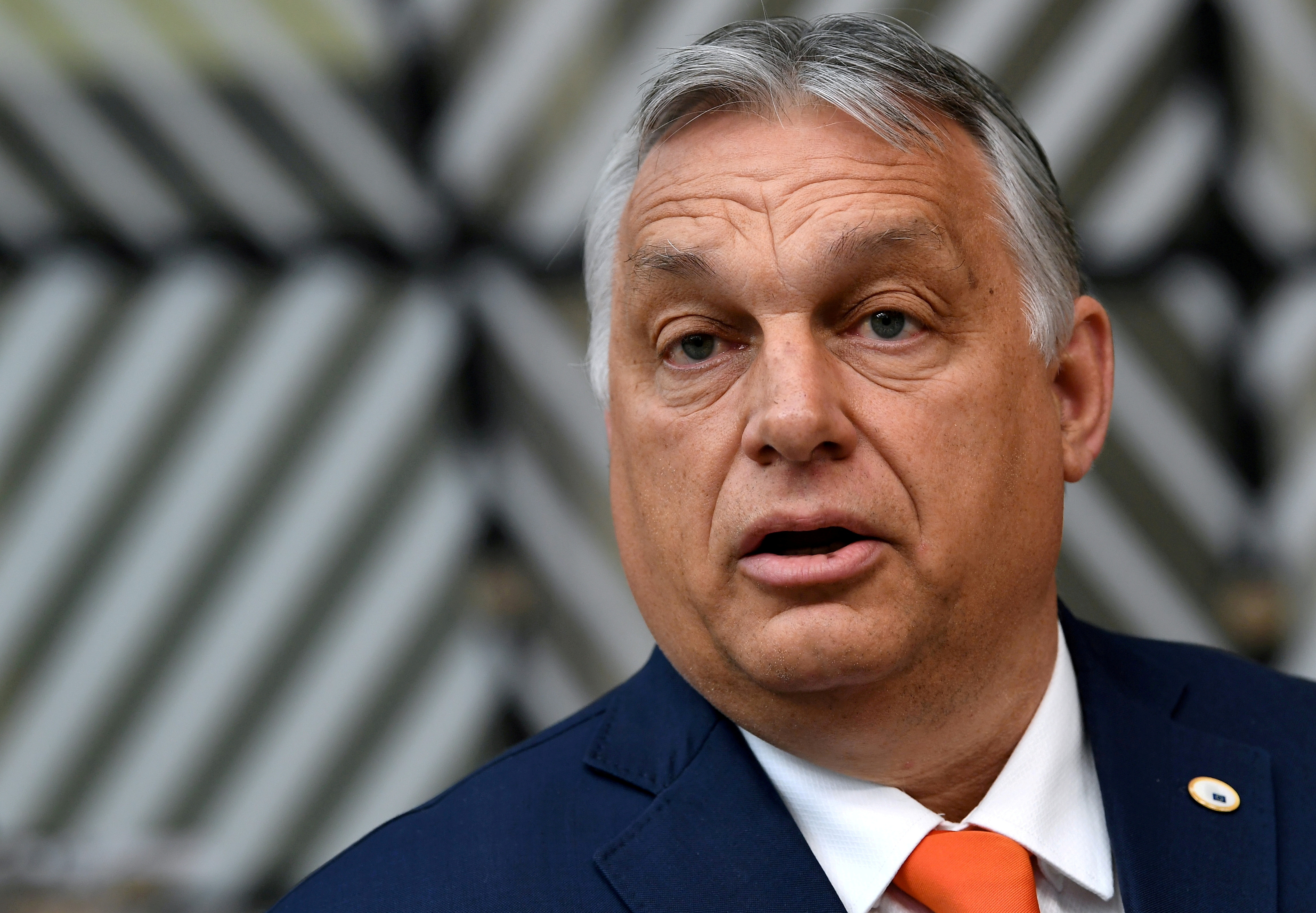 Hungary's Prime Minister Viktor Orban addresses the media as he arrives on the first day of the European Union summit at The European Council Building in Brussels, Belgium June 24, 2021. John Thys/Pool via REUTERS/File Photo