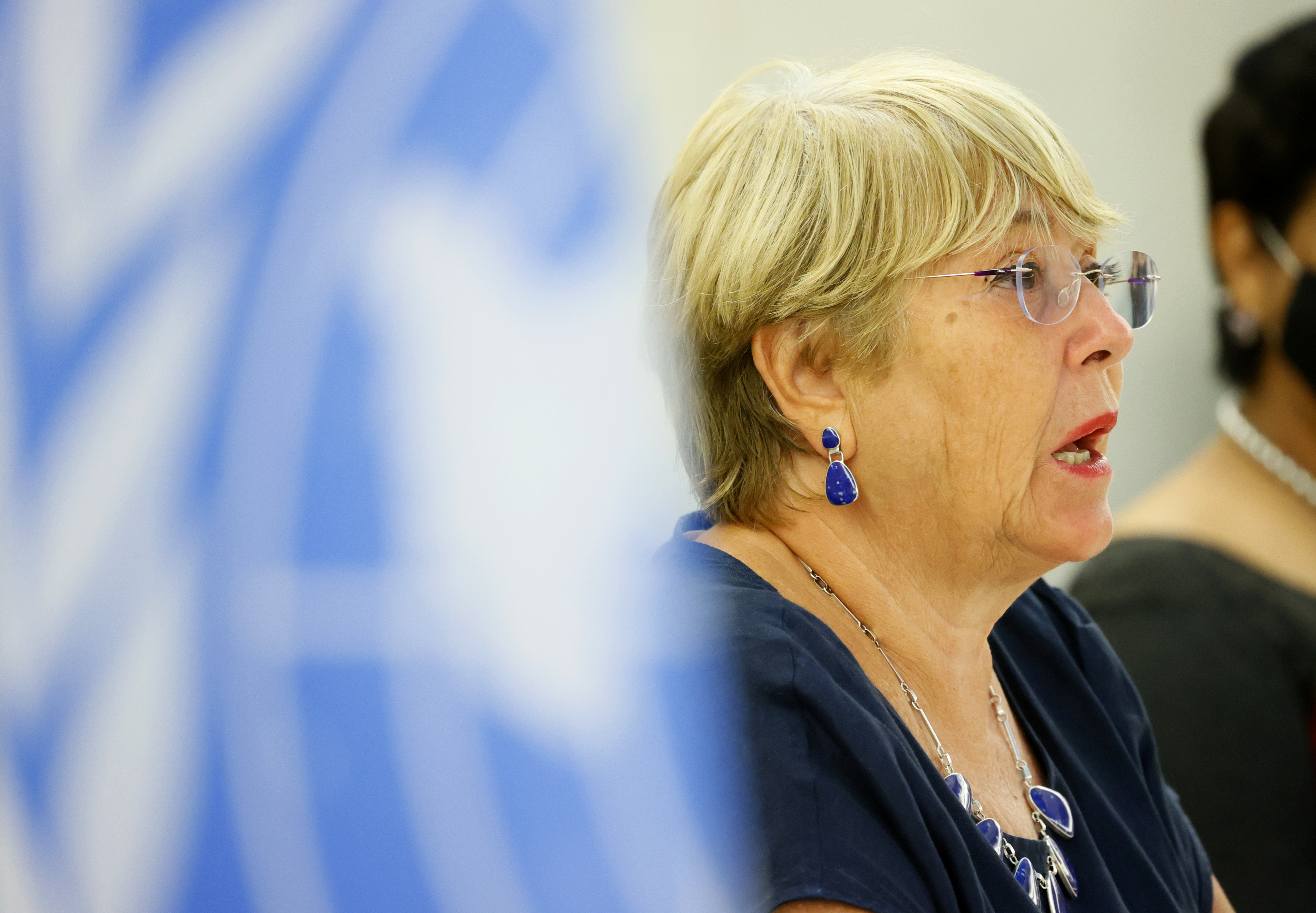 U.N. High Commissioner for Human Rights Michelle Bachelet attends a session of the Human Rights Council at the United Nations in Geneva, Switzerland, September 13, 2021. REUTERS/Denis Balibouse