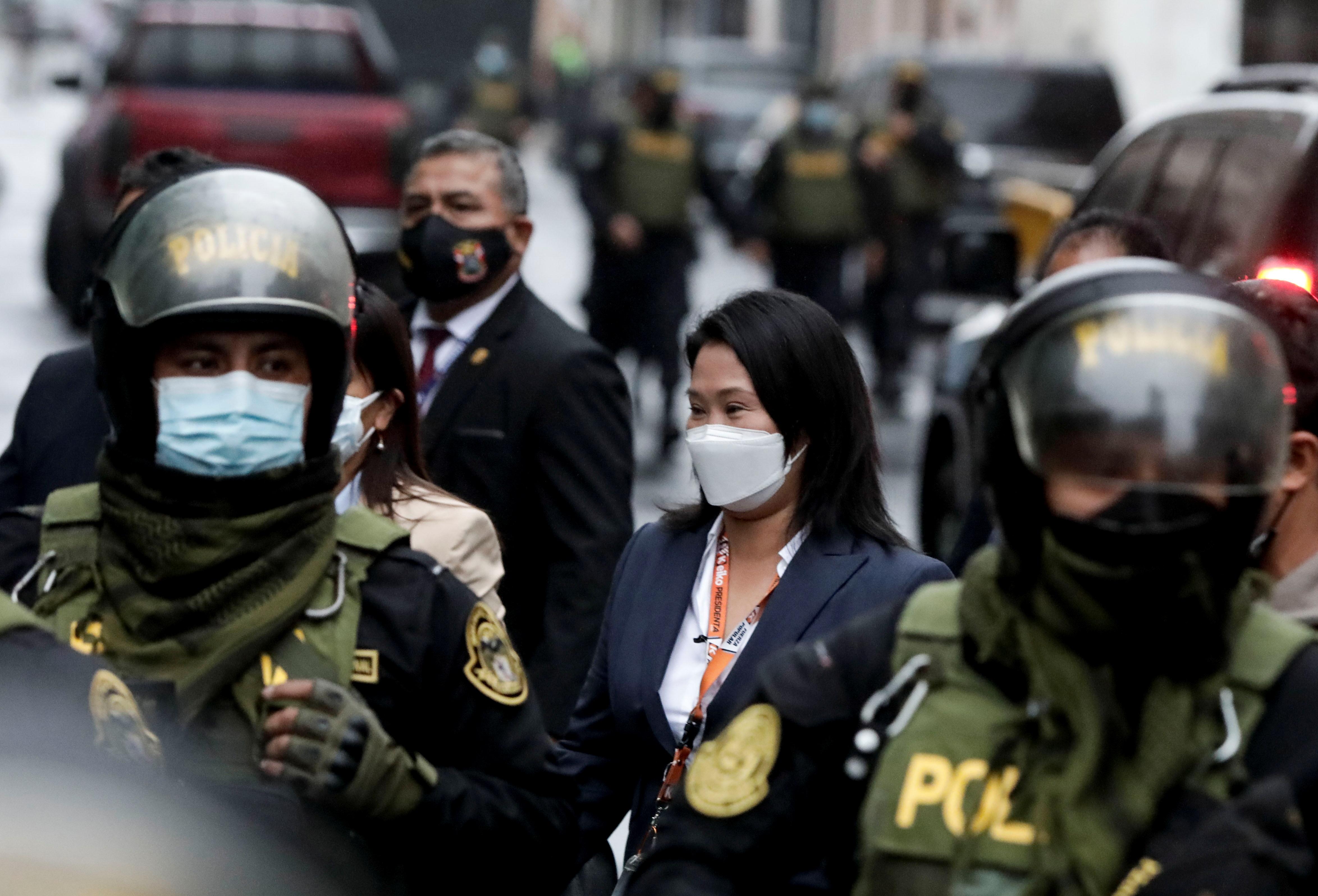 Peru's presidential candidate Keiko Fujimori leaves the National Court of Tacna Avenue in Lima, Peru, June 21, 2021. REUTERS/Angela Ponce
