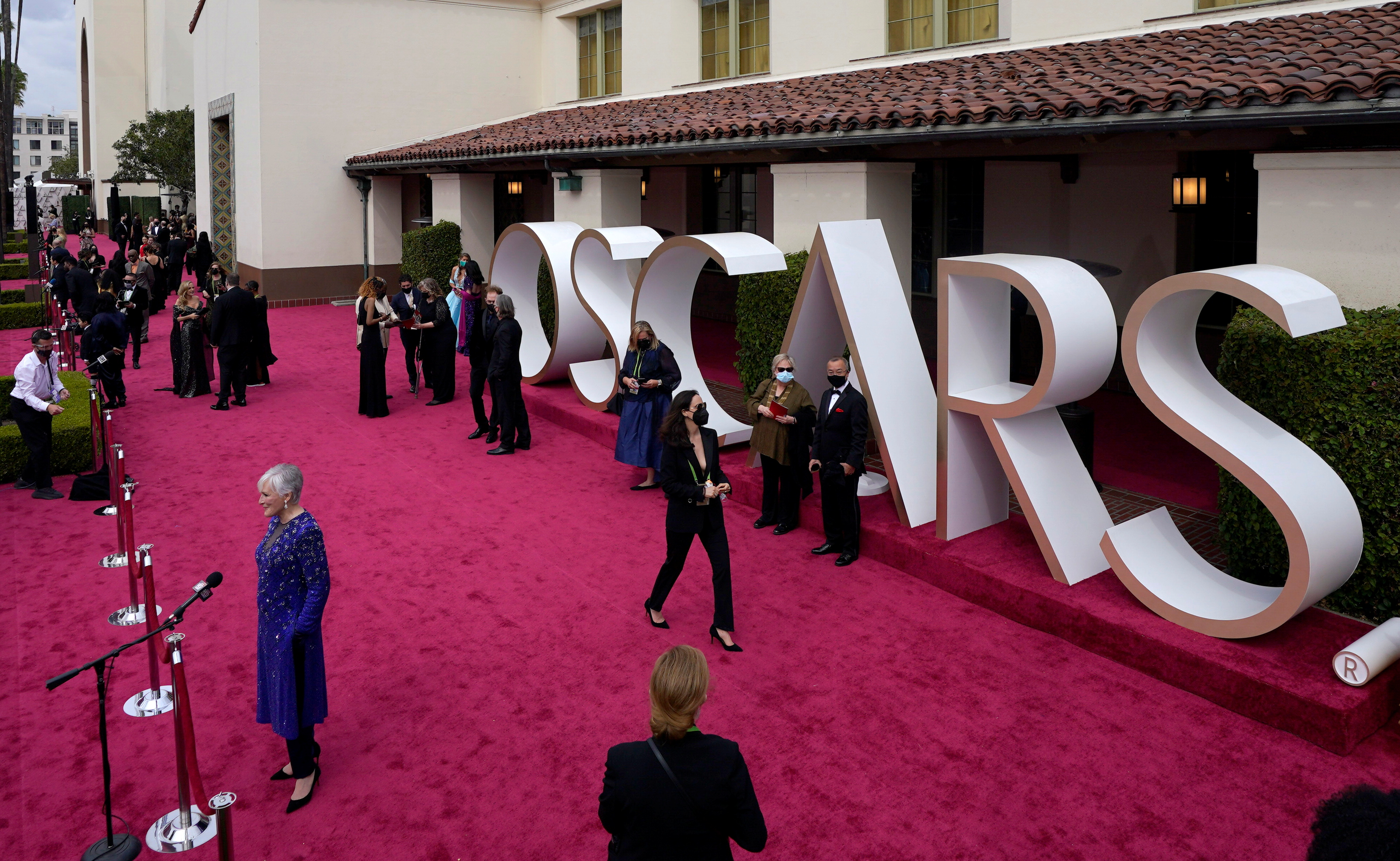 Glenn Close is interviewed on the Oscars red carpet for the 93rd Academy Awards in Los Angeles, California, U.S., April 25, 2021. Chris Pizzello/Pool via REUTERS