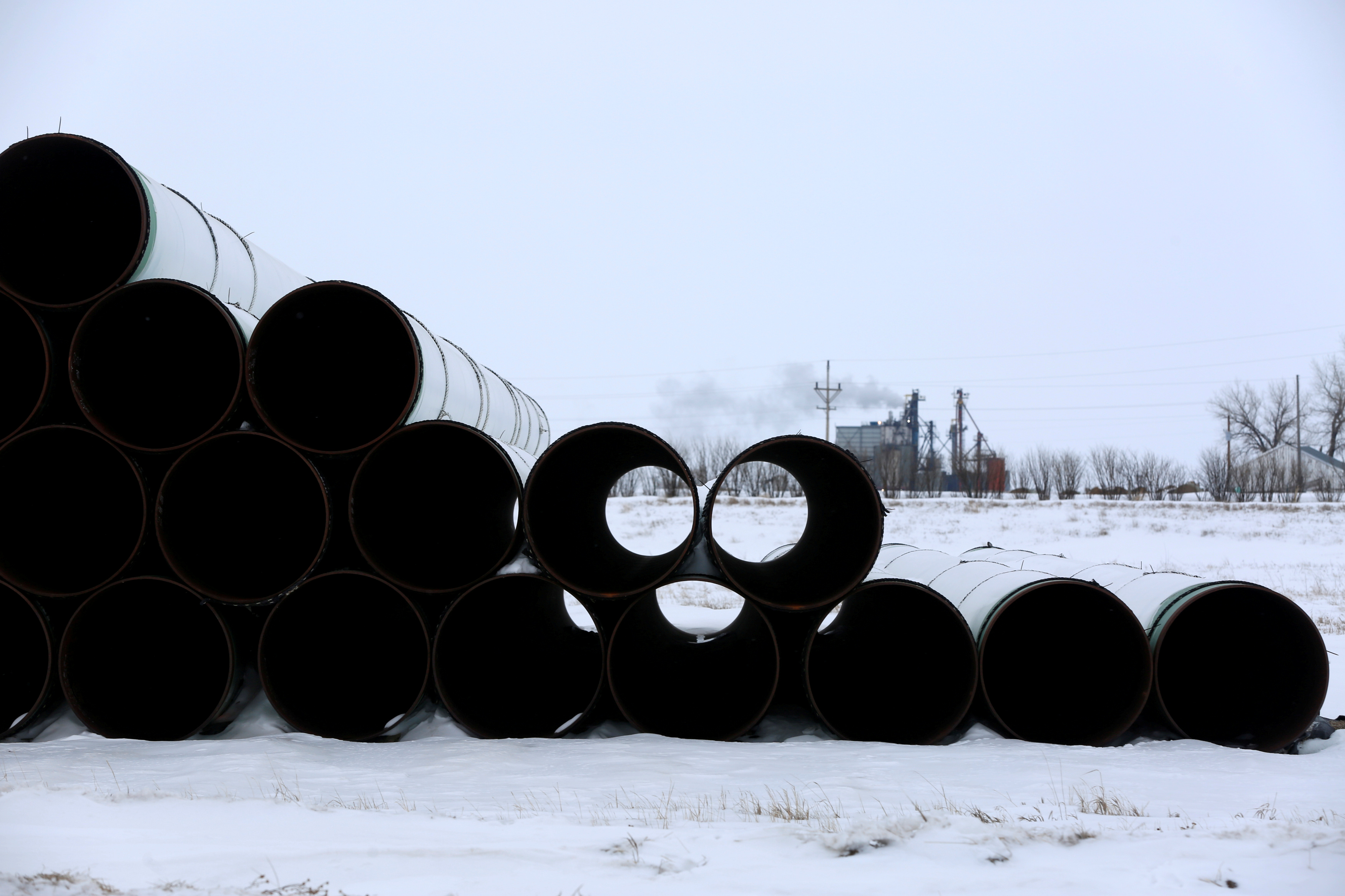 A depot used to store pipes for the planned Keystone XL oil pipeline is seen in Gascoyne, North Dakota, January 25, 2017.  REUTERS/Terray Sylvester/File Photo