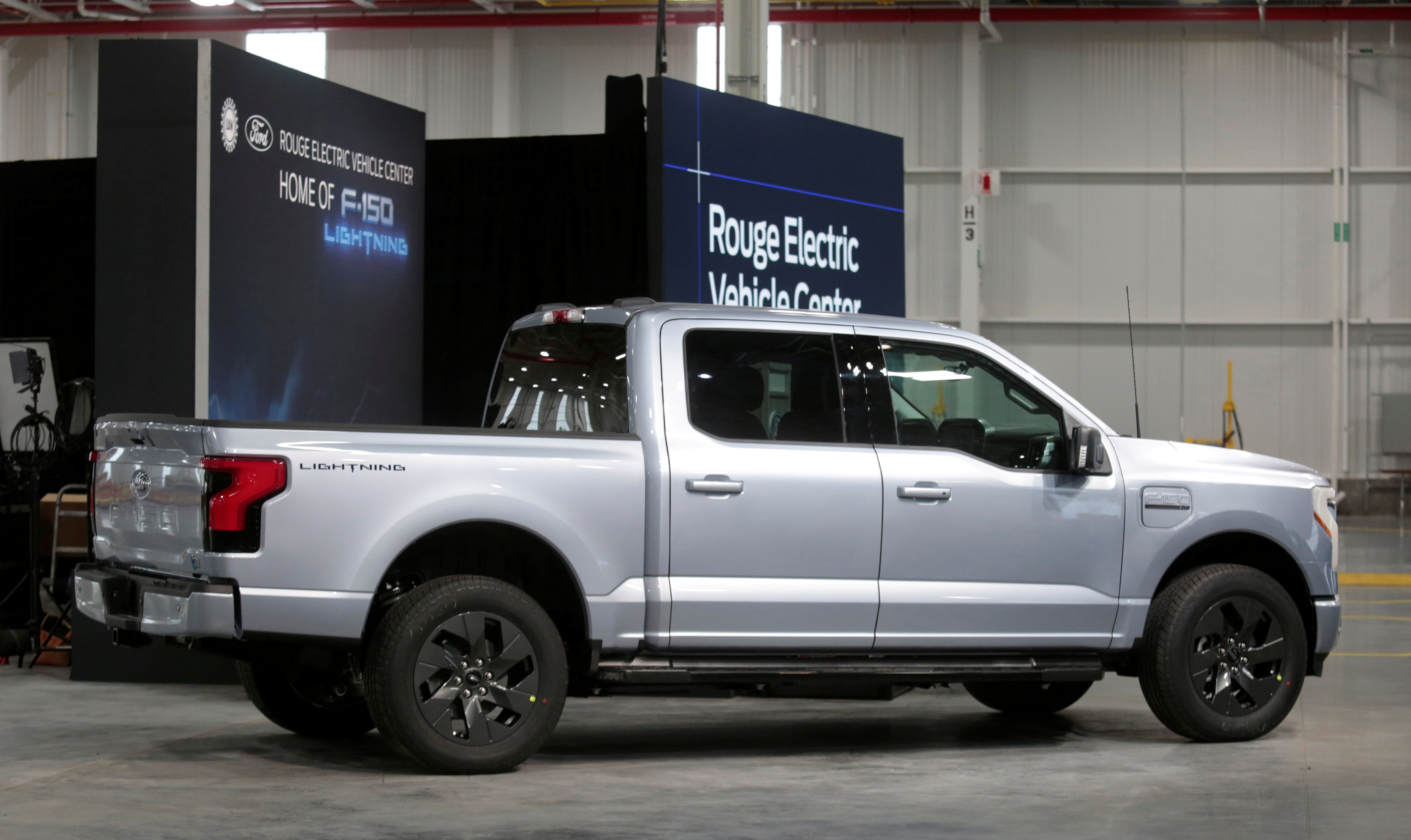 A Ford all-electric F-150 Lightning truck prototype is seen at the Rouge Electric Vehicle Center in Dearborn, Michigan, U.S. September 16, 2021   REUTERS/Rebecca Cook/File Photo