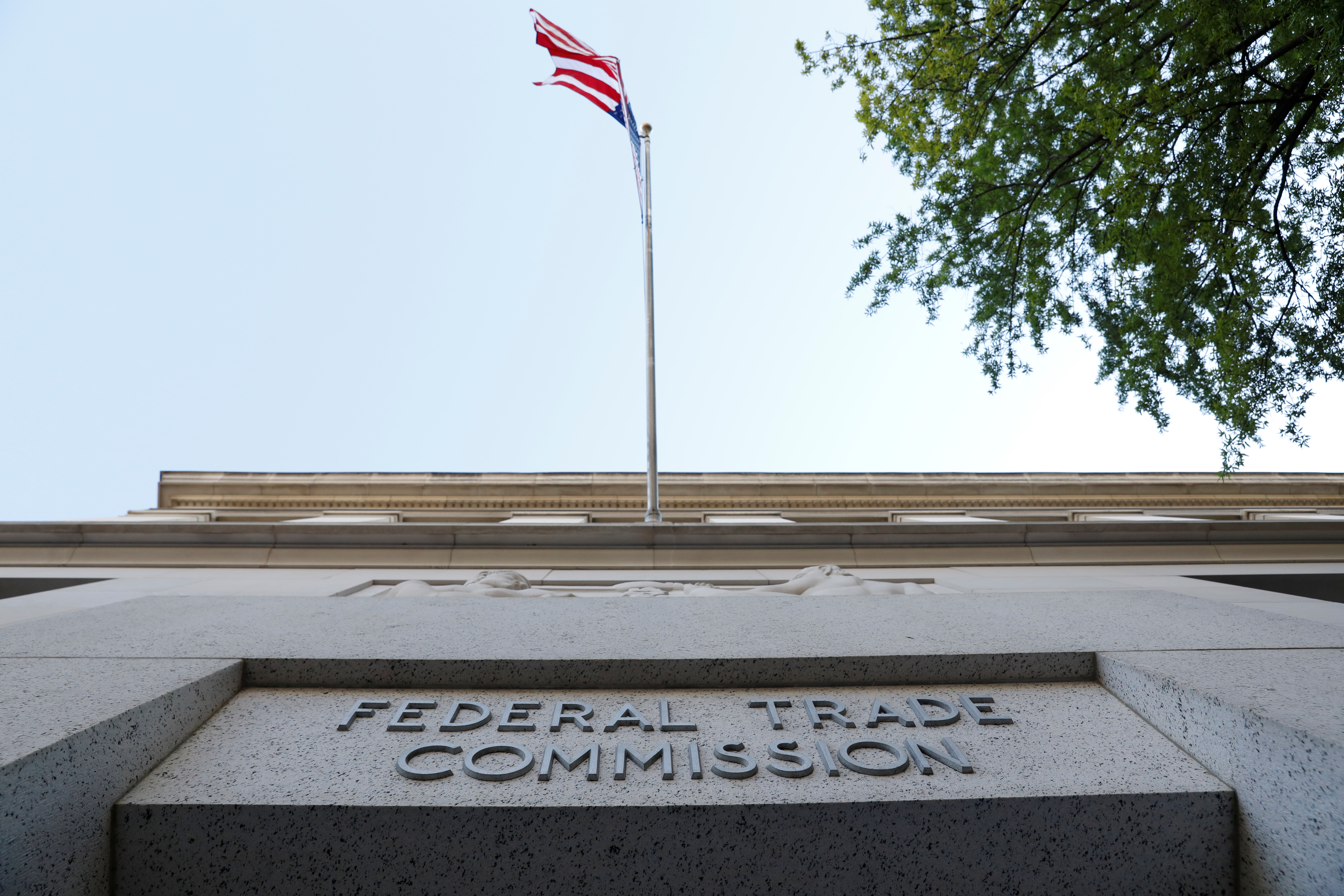 Signage is seen at the Federal Trade Commission headquarters in Washington, D.C., August 29, 2020. REUTERS/Andrew Kelly