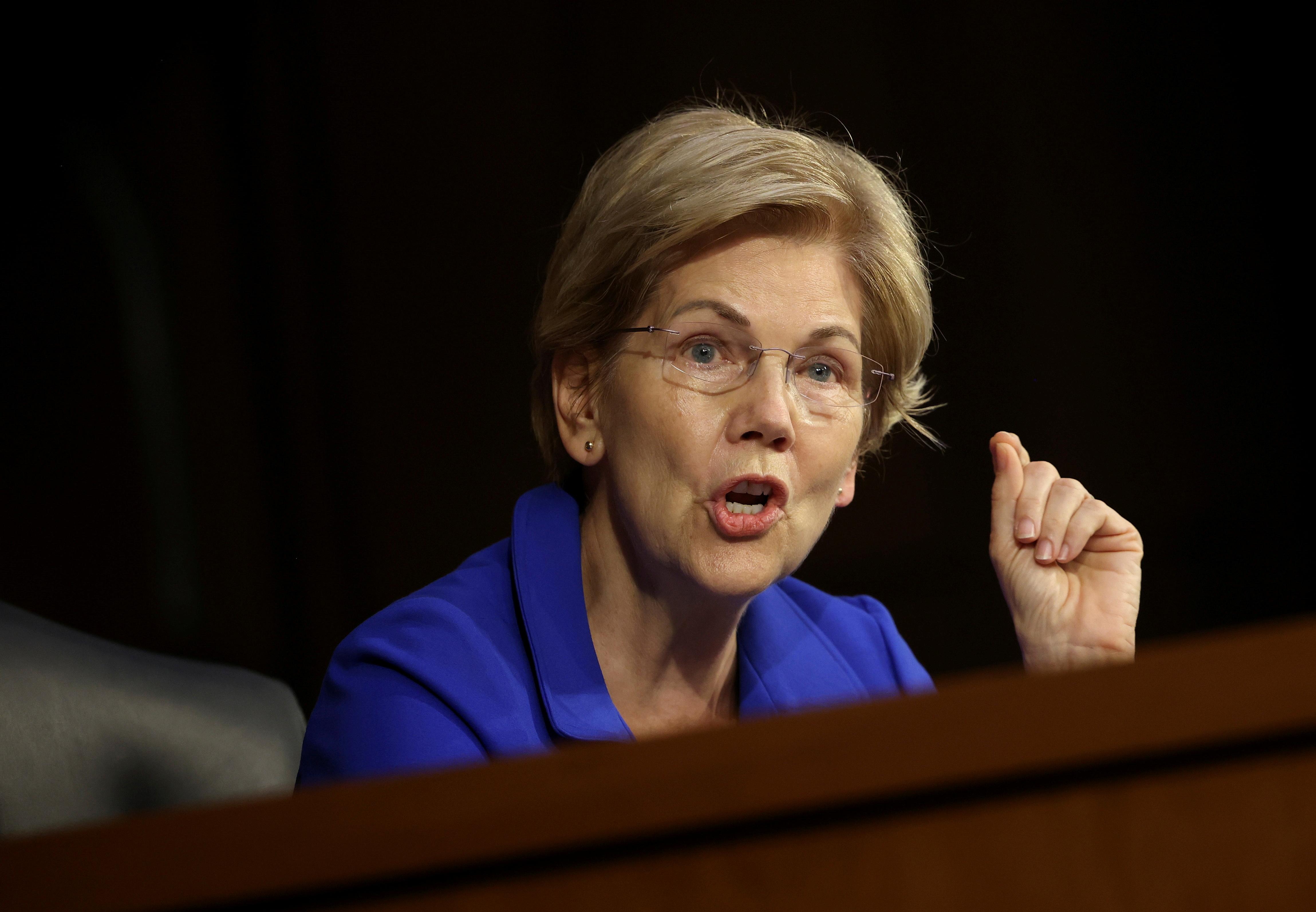 Sen. Elizabeth Warren in a hearing at the Hart Senate Office Building in Washington, DC. September 28, 2021. Kevin Dietsch/Pool via REUTERS/