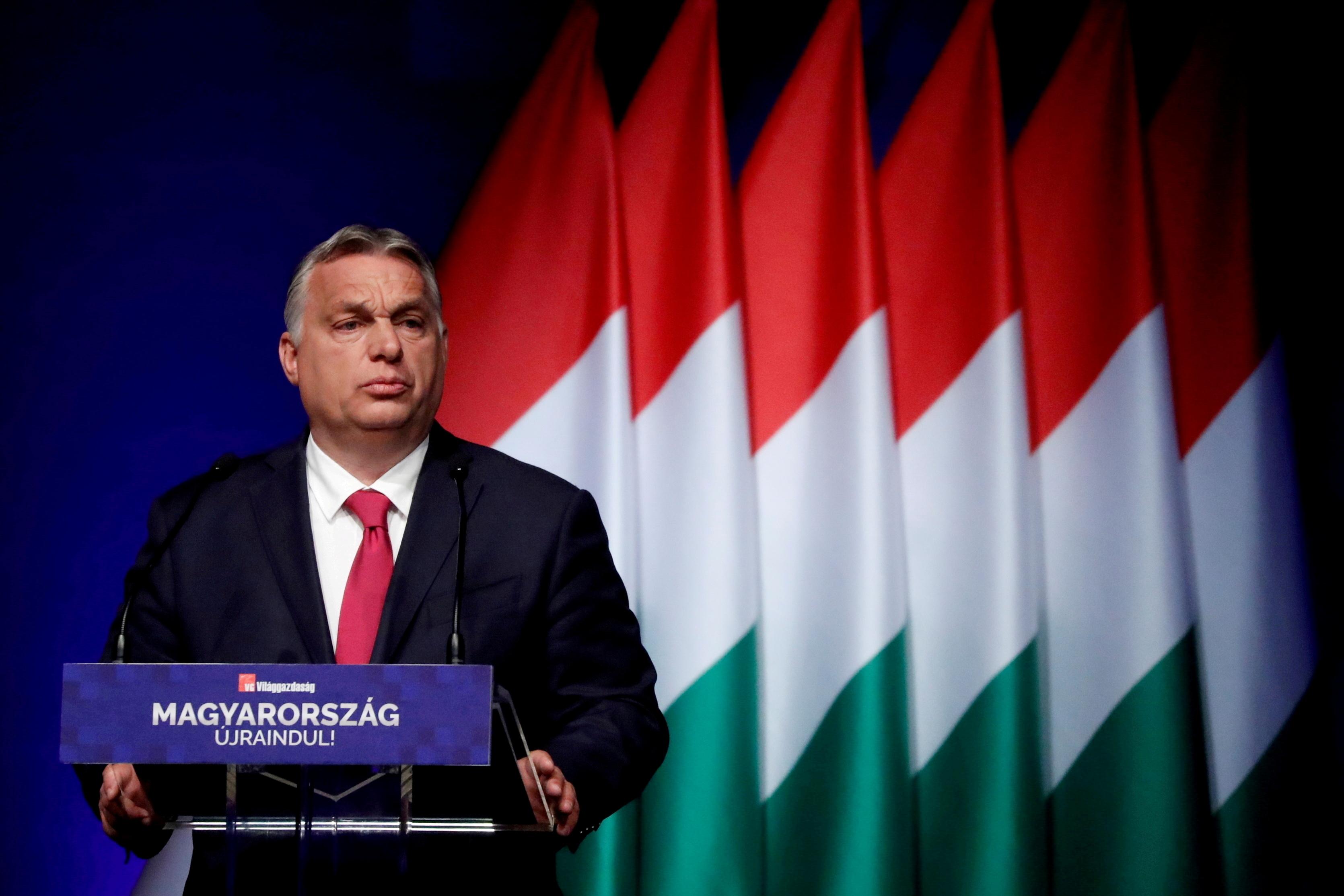 Hungarian Prime Minister Viktor Orban addresses a business conference in Budapest, Hungary, June 9, 2021. REUTERS/Bernadett Szabo/File Photo