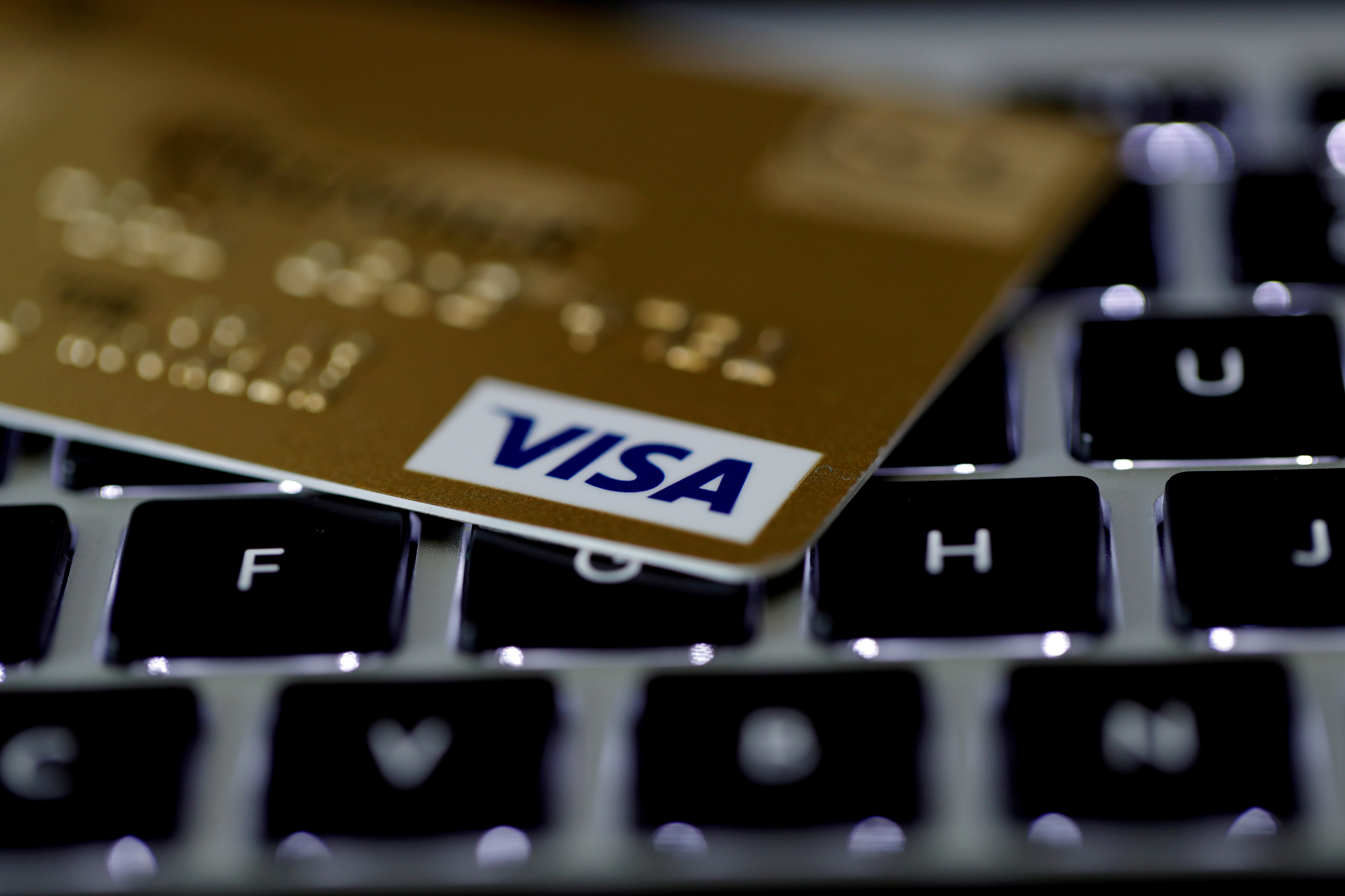 A Visa credit card is seen on a computer keyboard in this picture illustration taken September 6, 2017. REUTERS/Philippe Wojazer/Illustration//File Photo
