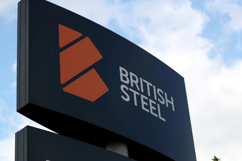 A British Steel works sign is seen in Scunthorpe, northern England, Britain, May 21, 2019. REUTERS/Scott Heppell