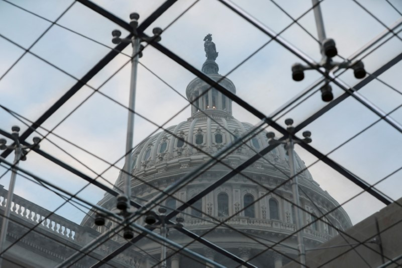 A view of the U.S. Capitol Dome from a skylight inside the building, in Washington, U.S., December 18, 2020. REUTERS/Cheriss May/File Photo