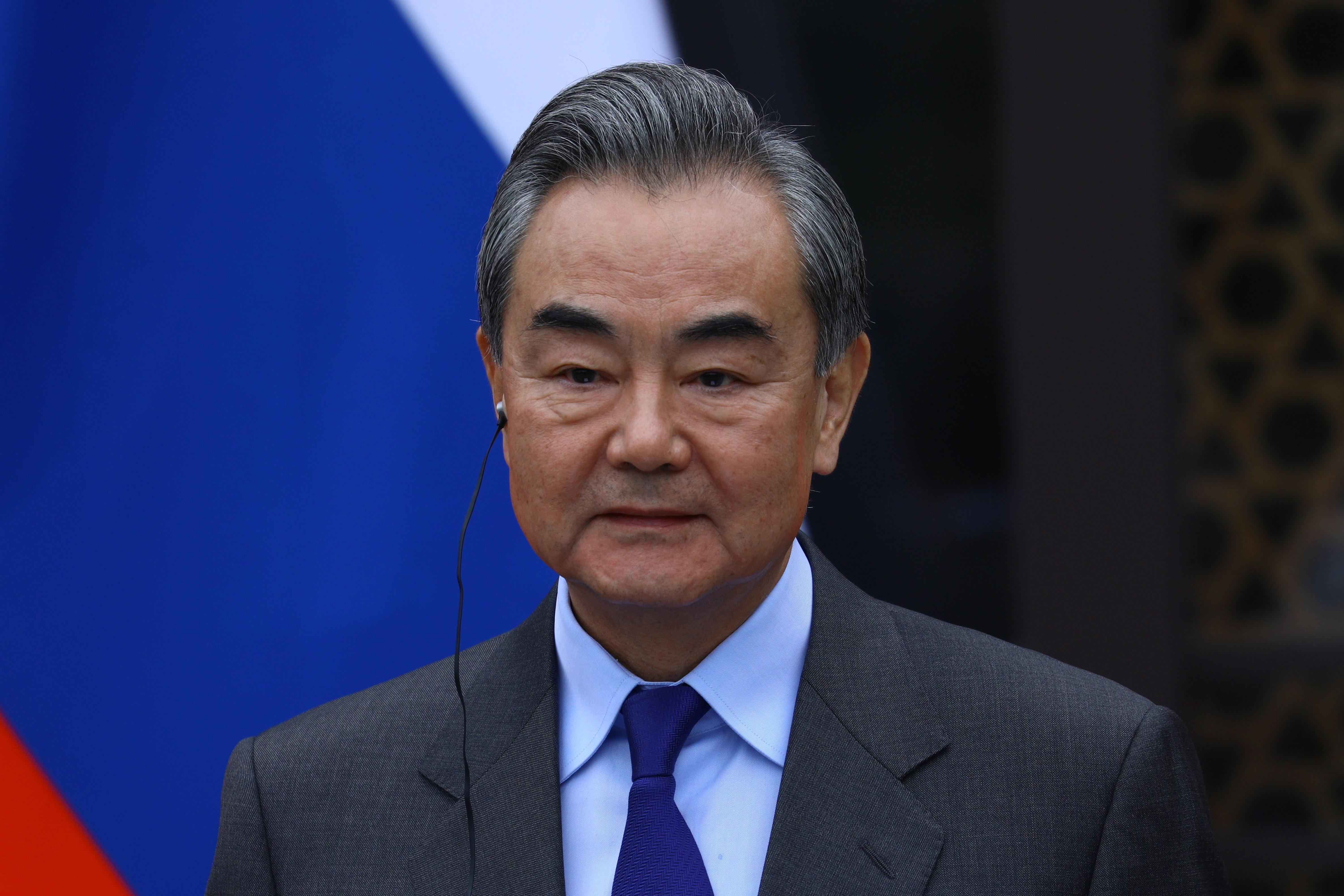 China's State Councilor and Foreign Minister Wang Yi attends a news conference following a meeting with Russia's Foreign Minister Sergei Lavrov in Guilin, China March 23, 2021. Russian Foreign Ministry/Handout via REUTERS