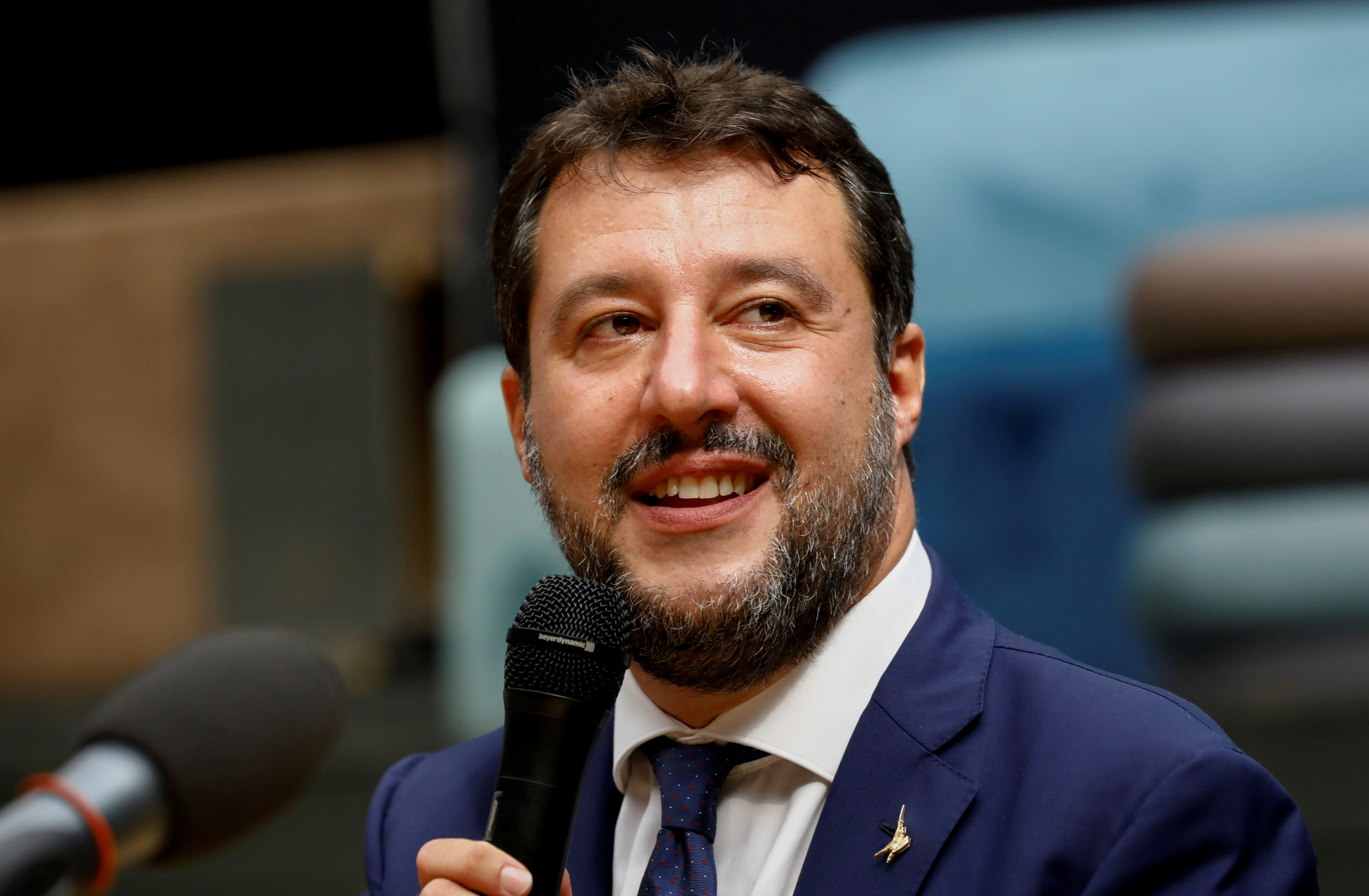 Far-right leader Matteo Salvini speaks during a news conference in Catania, Italy, October 3, 2020. REUTERS/Antonio Parrinello