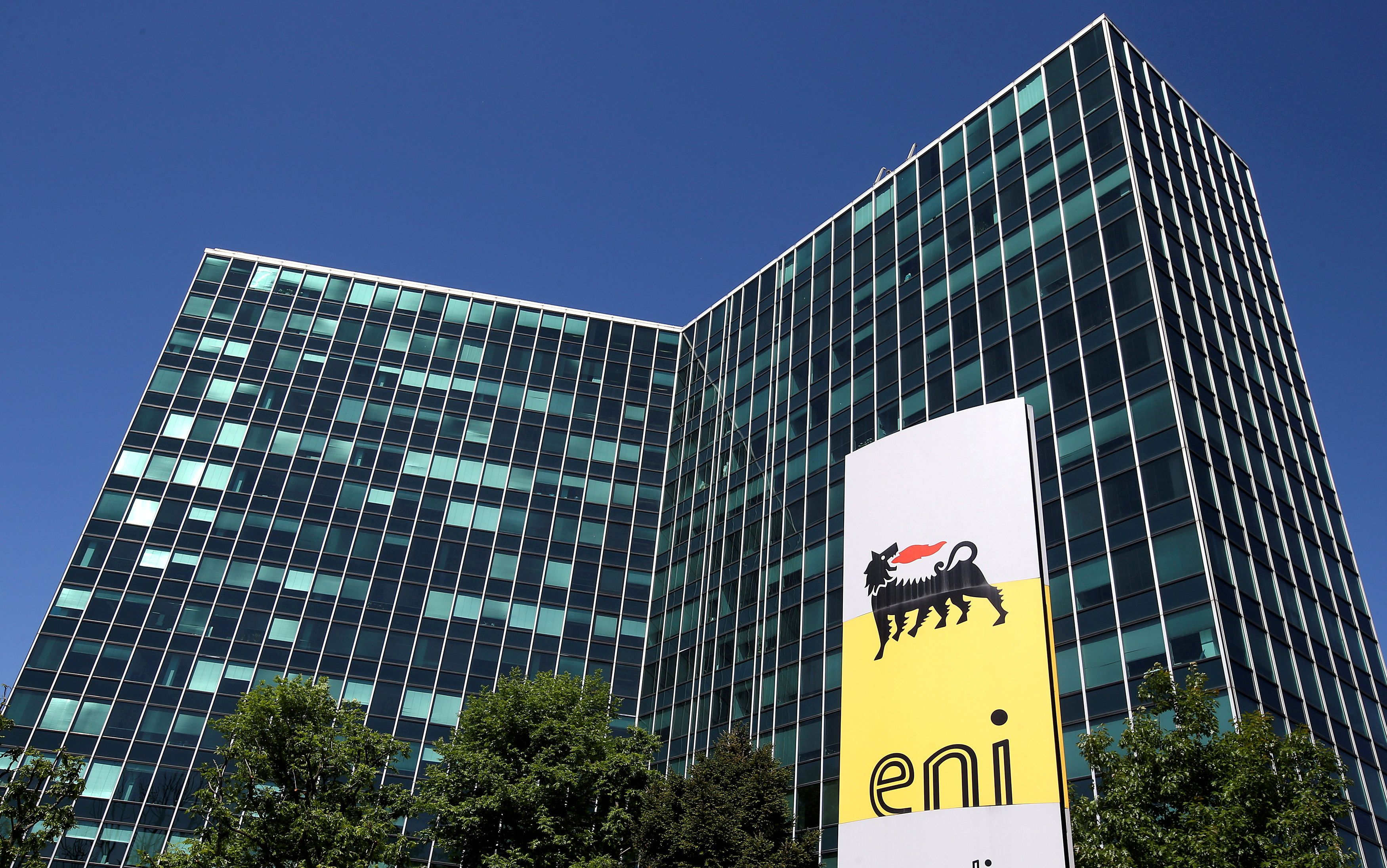 Eni's logo is seen in front of its headquarters in San Donato Milanese, near Milan, Italy, April 27, 2016.  REUTERS/Stefano Rellandini