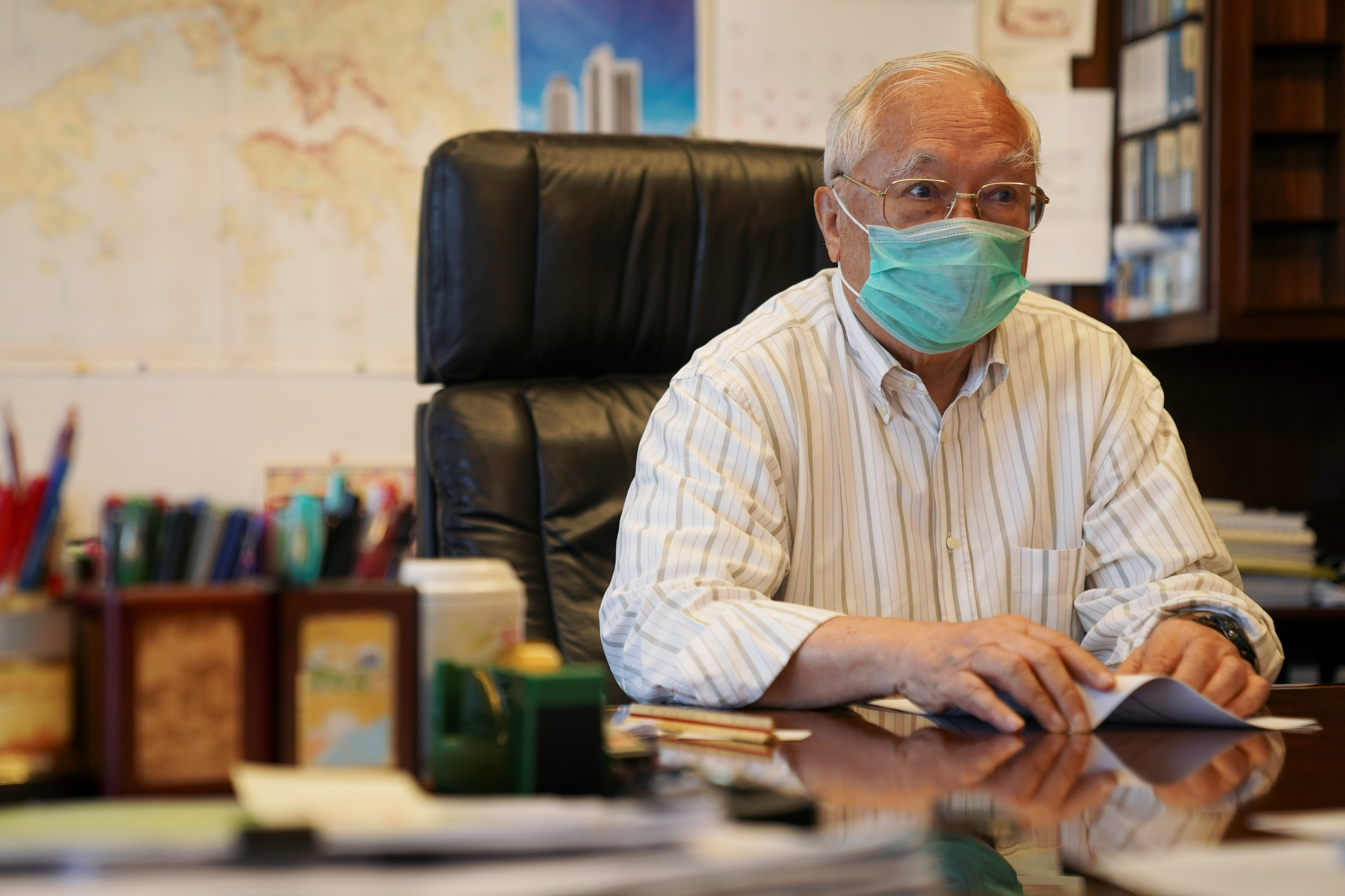 Hopewell Holdings Chairman Gordon Wu attends an interview at his office in Hong Kong, China May 17, 2021. Picture taken May 17, 2021. REUTERS/Lam Yik