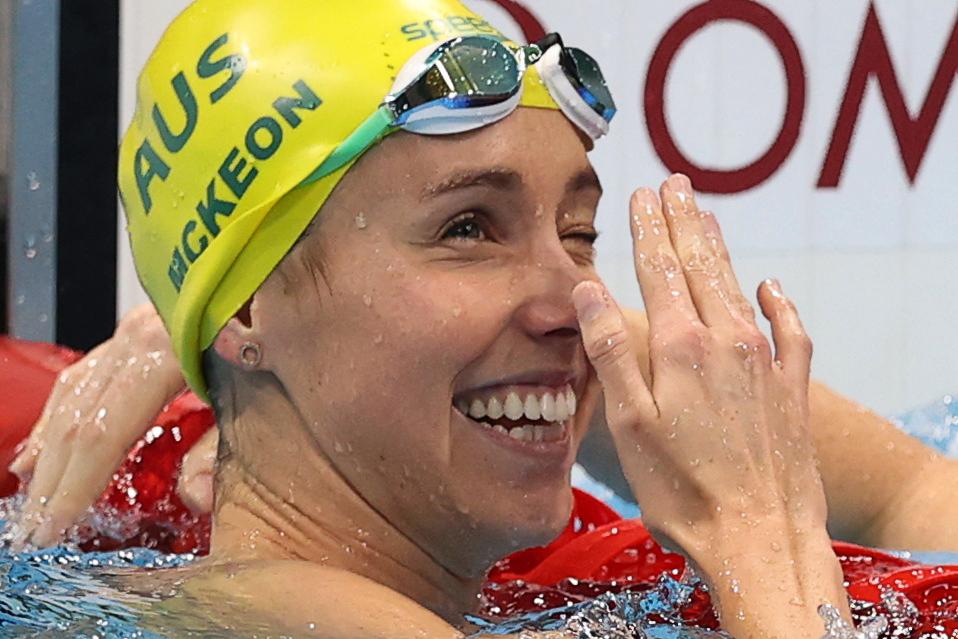 Tokyo 2020 Olympics - Swimming - Women's 50m Freestyle - Final - Tokyo Aquatics Centre - Tokyo, Japan - August 1, 2021. Emma McKeon of Australia celebrates REUTERS/Carl Recine