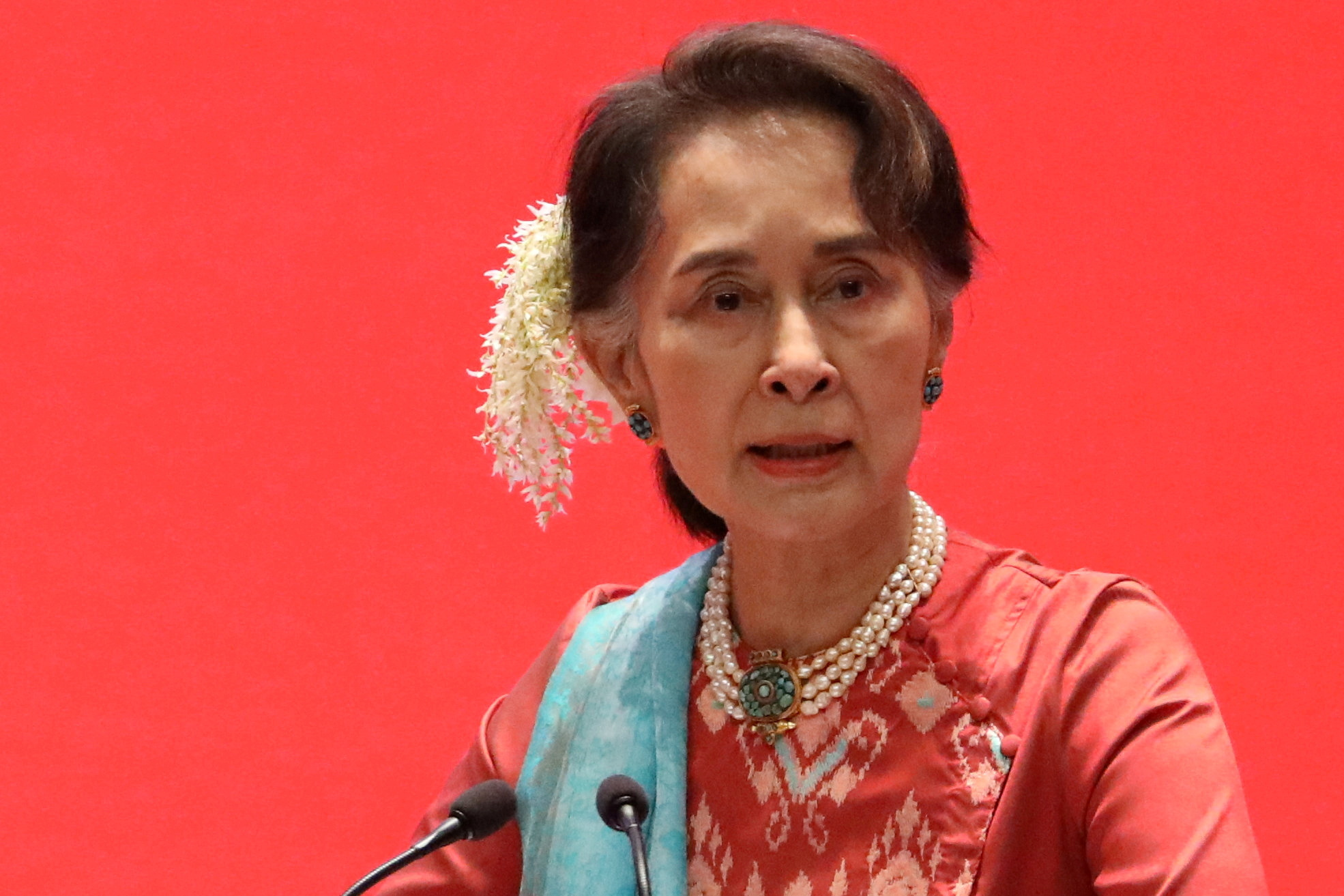 Myanmar's State Counsellor Aung San Suu Kyi attends Invest Myanmar in Naypyitaw, Myanmar, January 28, 2019. REUTERS/Ann Wang
