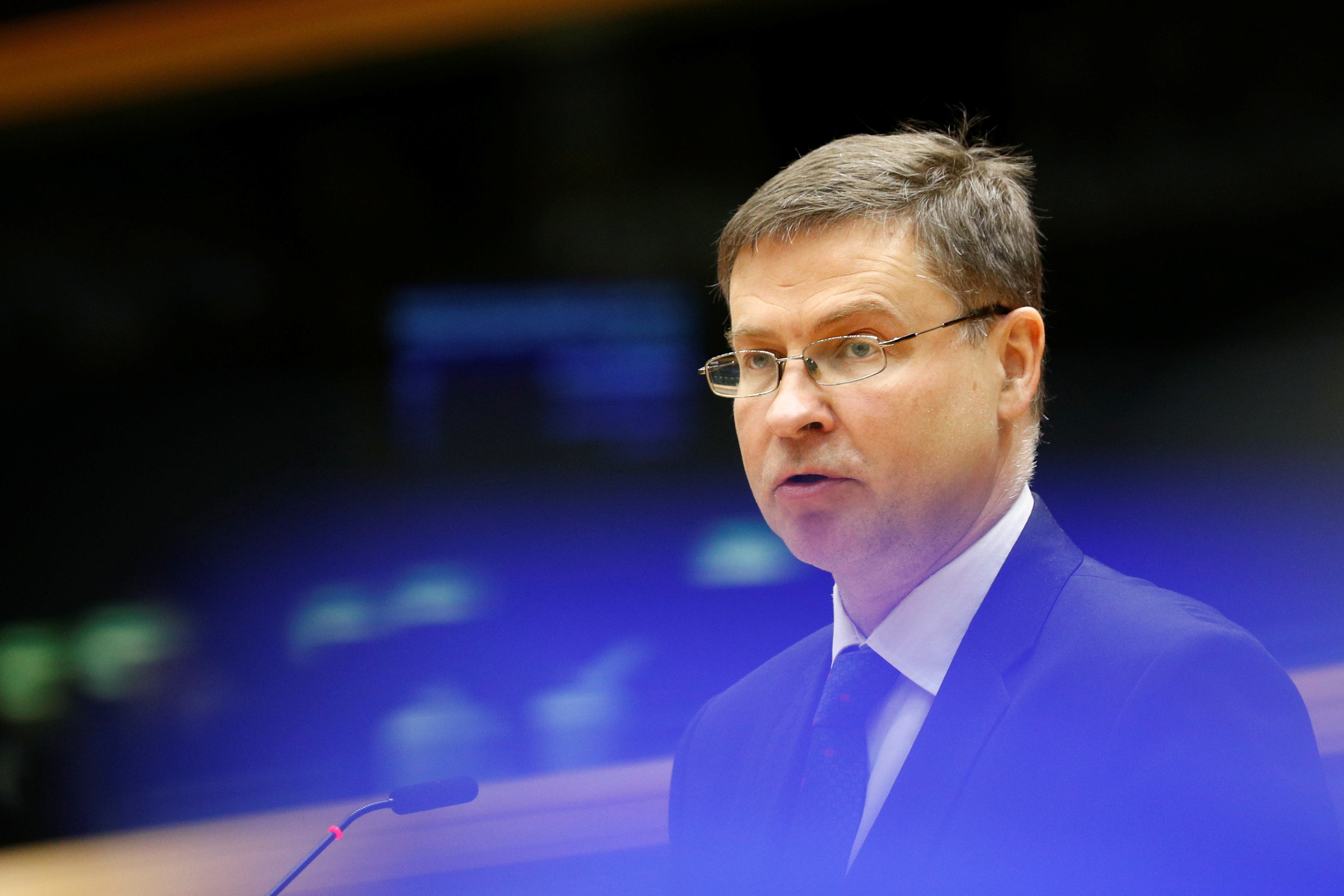 EU Commission Vice President Valdis Dombrovskis addresses the European Parliament in Brussels, Belgium, May 19, 2021. REUTERS/Johanna Geron/Pool