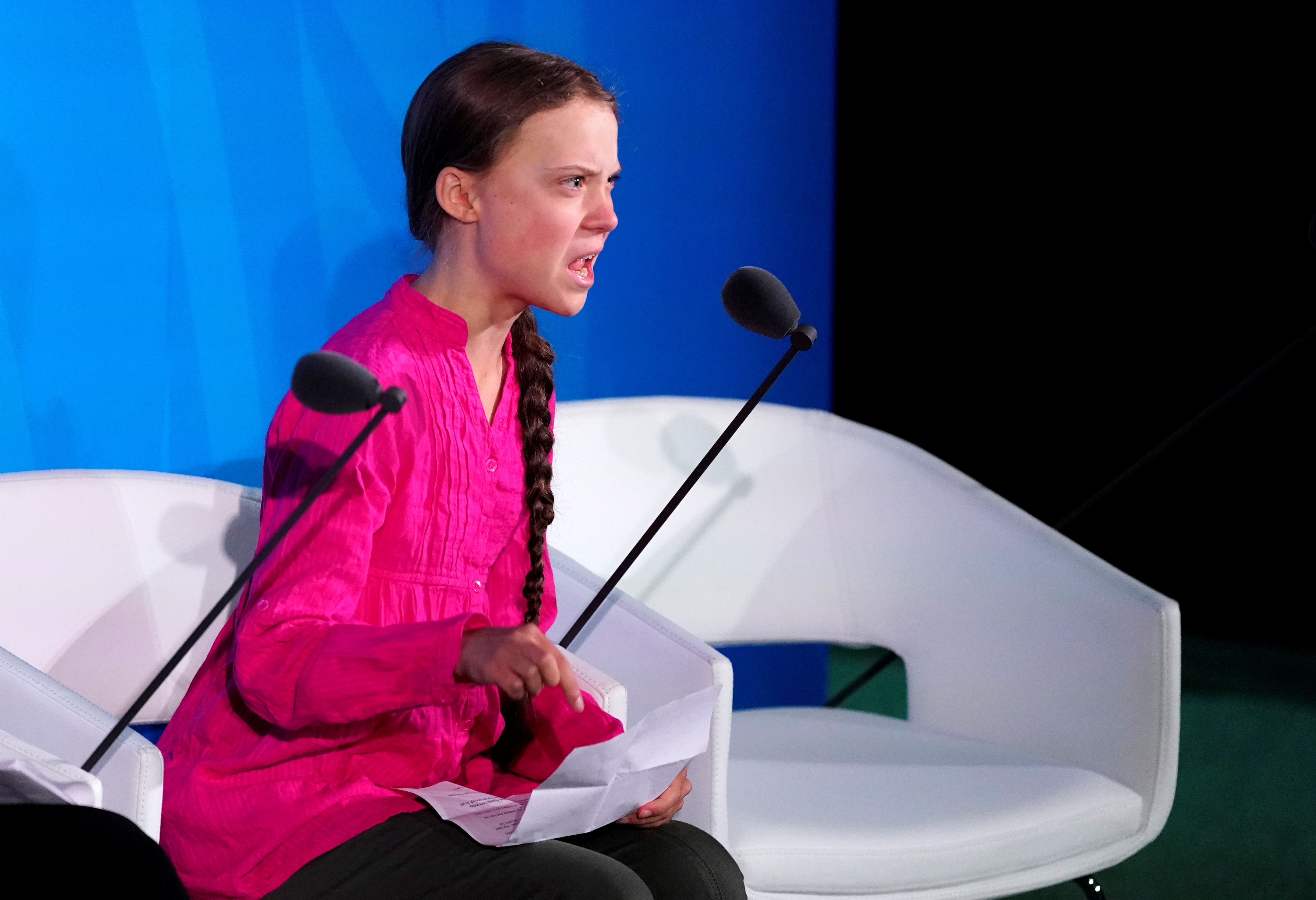 16-year-old Swedish Climate activist Greta Thunberg speaks at the 2019 United Nations Climate Action Summit at U.N. headquarters in New York City, New York, U.S., September 23, 2019. REUTERS/Carlo Allegri