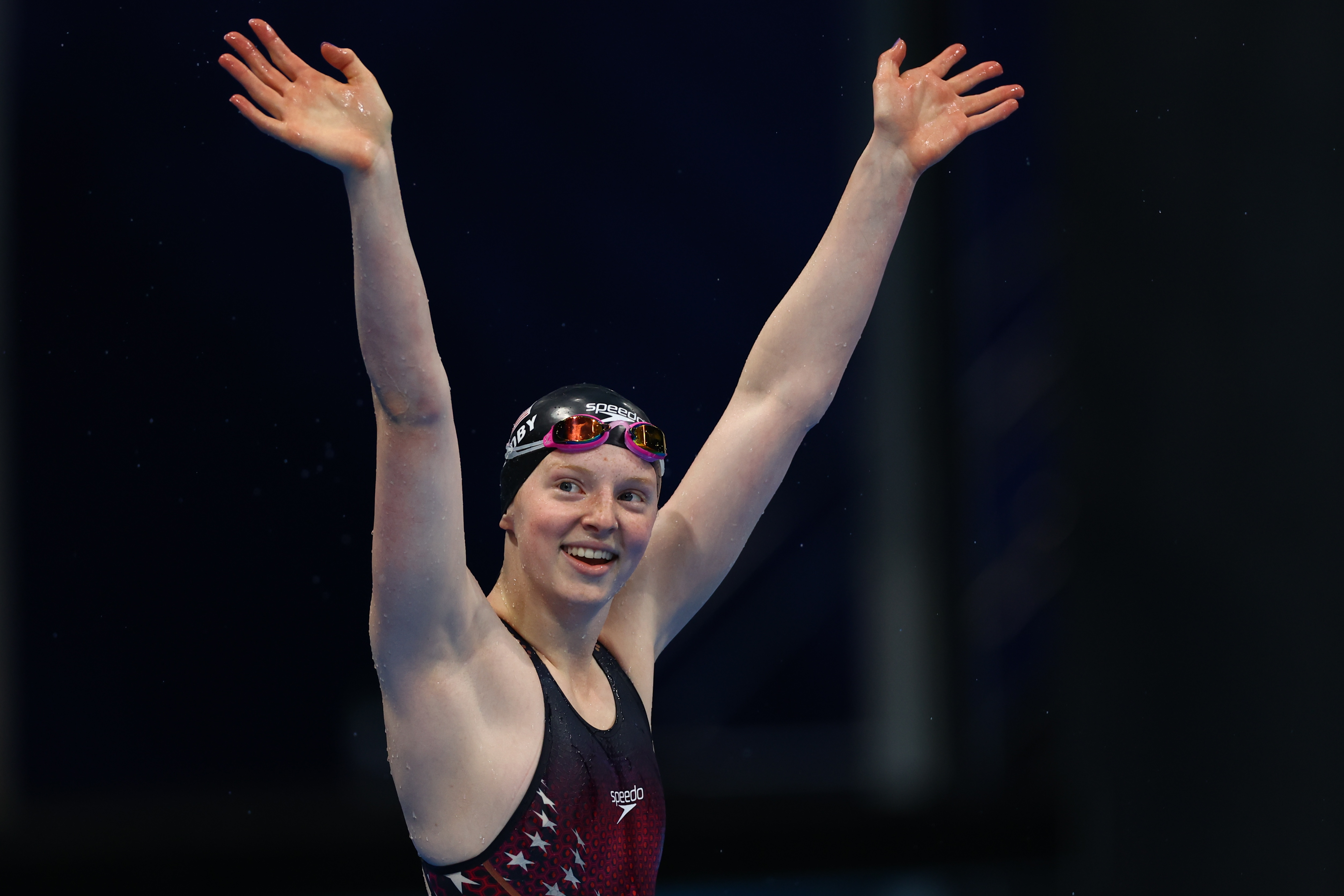 Tokyo 2020 Olympics - Swimming - Women's 100m Breaststroke - Final - Tokyo Aquatics Centre - Tokyo, Japan - July 27, 2021.  Lydia Jacoby of the United States celebrates after winning the gold medal REUTERS/Kai Pfaffenbach