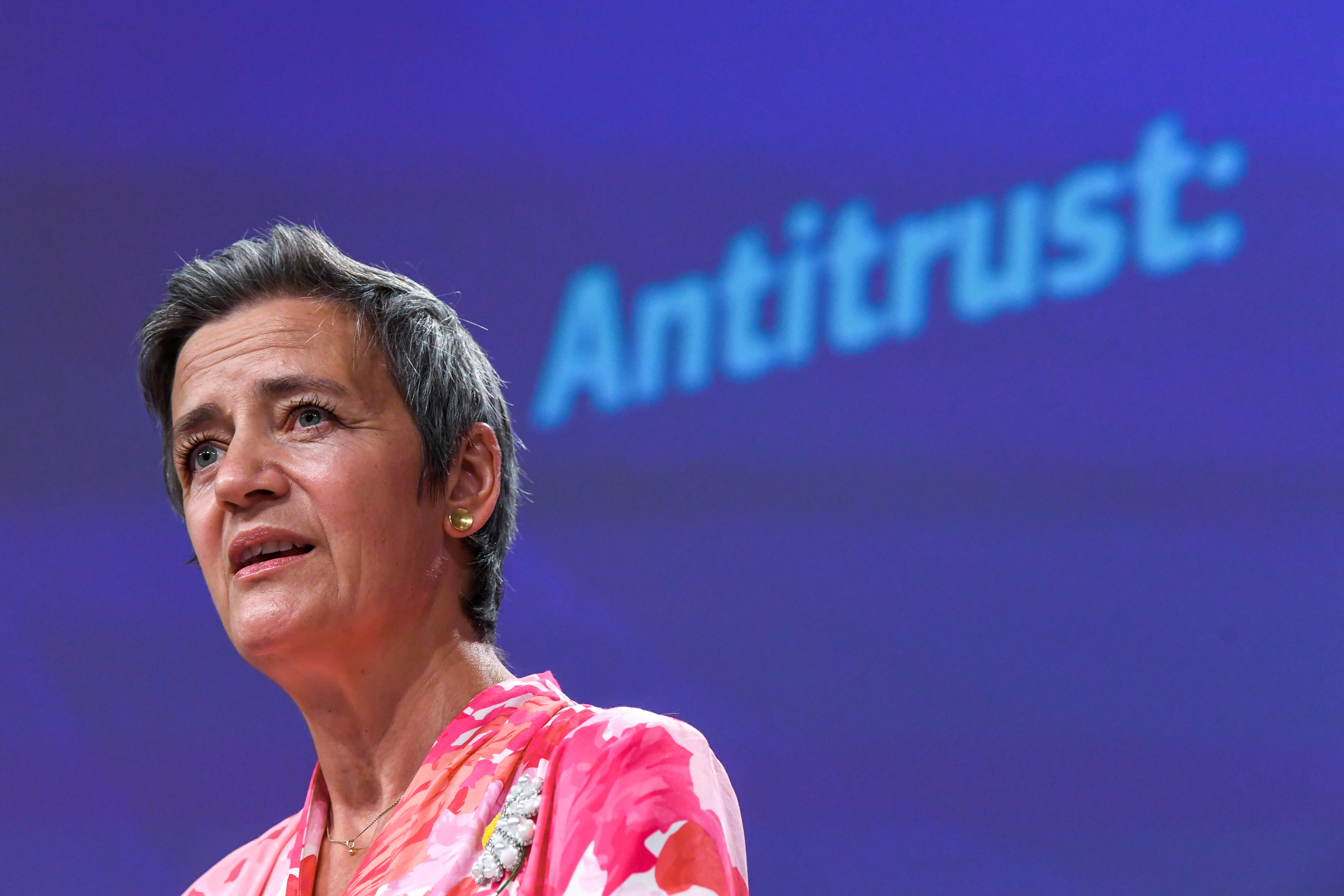 European Commissioner for Europe fit for the Digital Age Margrethe Vestager speaks during a news conference on a competition sector inquiry at the EU headquarters in Brussels, Belgium June 9, 2021. John Thys/Pool via REUTERS