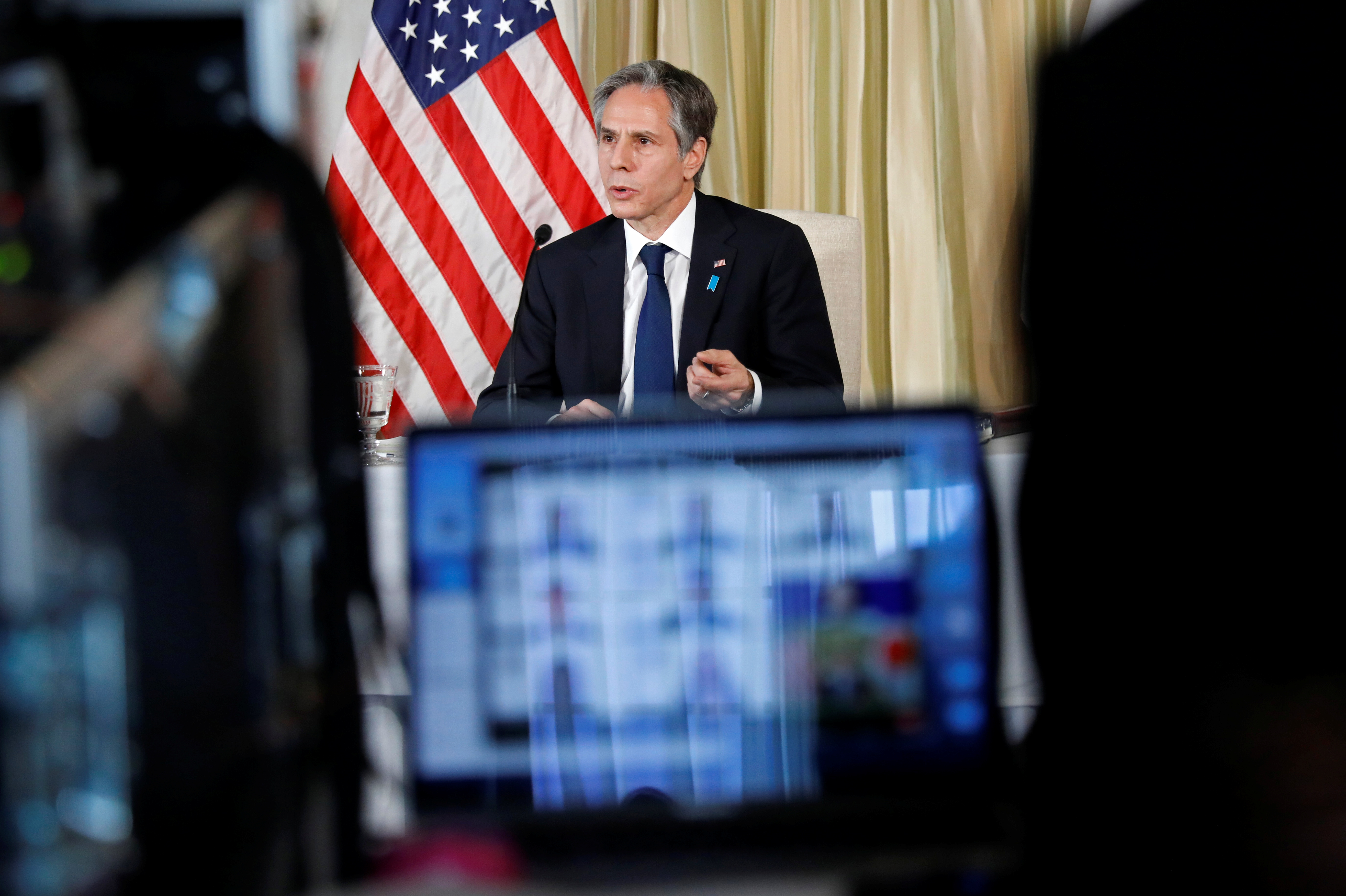 U.S. Secretary of State Antony Blinken attends a virtual meet and greet with U.S. Embassy staff at the U.S. Ambassador's residence in Tokyo, Japan, March 16, 2021. REUTERS/Kim Kyung-Hoon/Pool