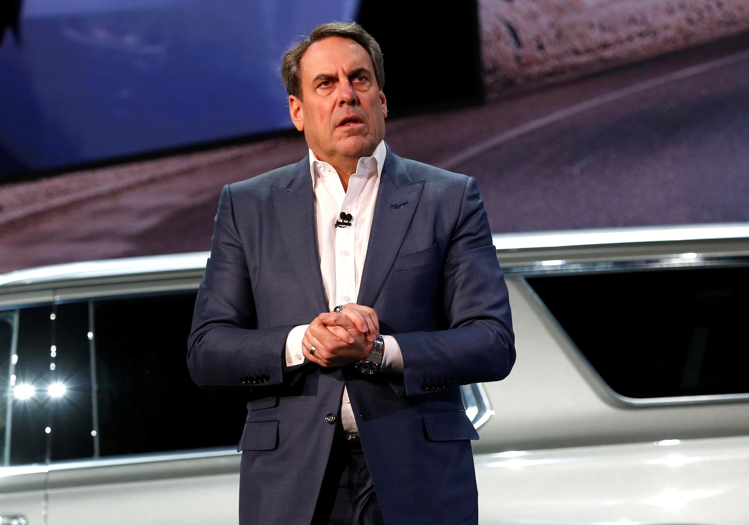 General Motors President Mark Reuss talks about the Chevrolet 2021 Suburban and Tahoe SUVs in Detroit, Michigan, U.S. December 10, 2019. REUTERS/Rebecca Cook
