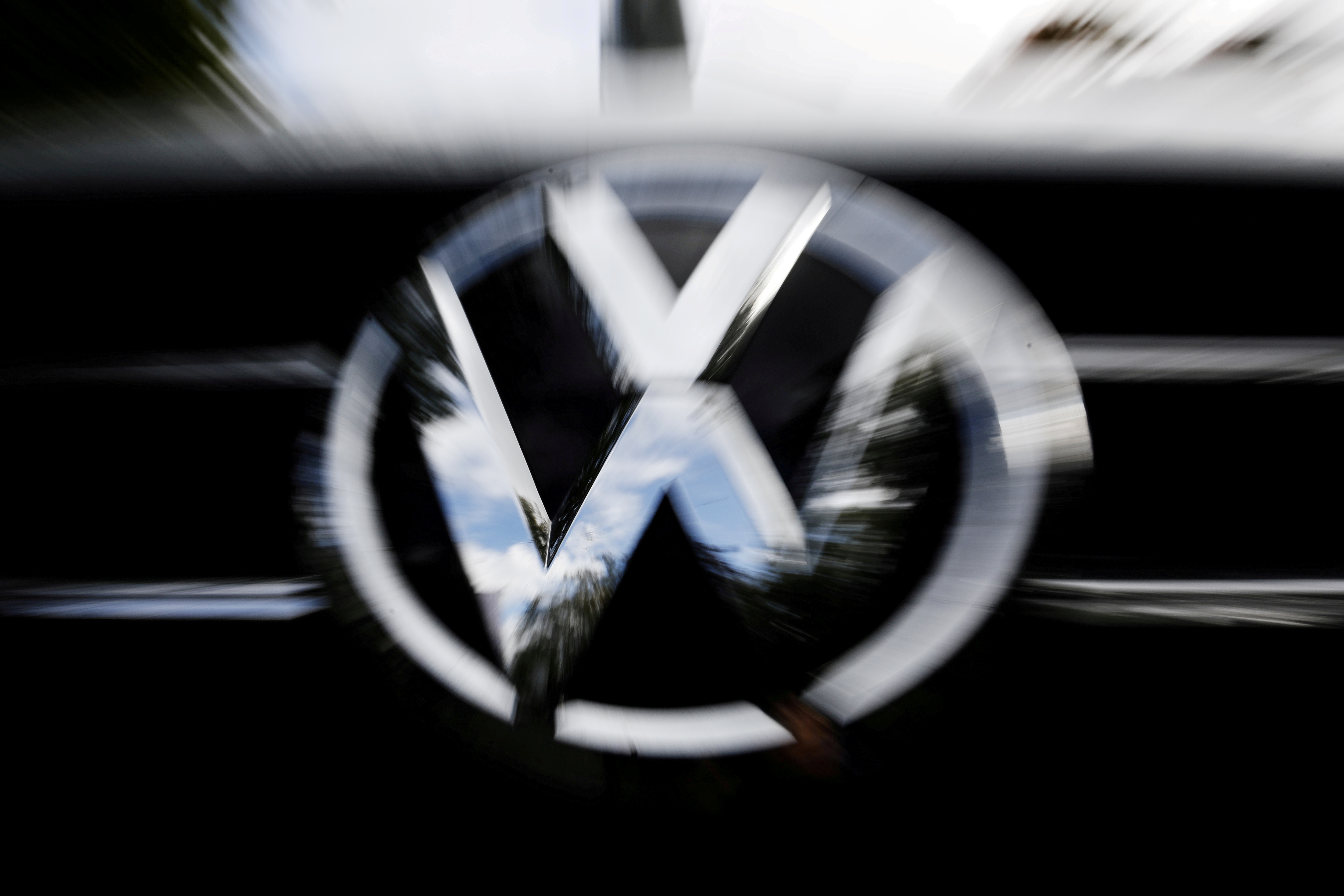 The VW logo is seen at the site of the first hearing against VW over the diesel emissions cheating scandal, at the Higher Regional Court in Braunschweig, Germany, September 30, 2019.     REUTERS/Michele Tantussi/