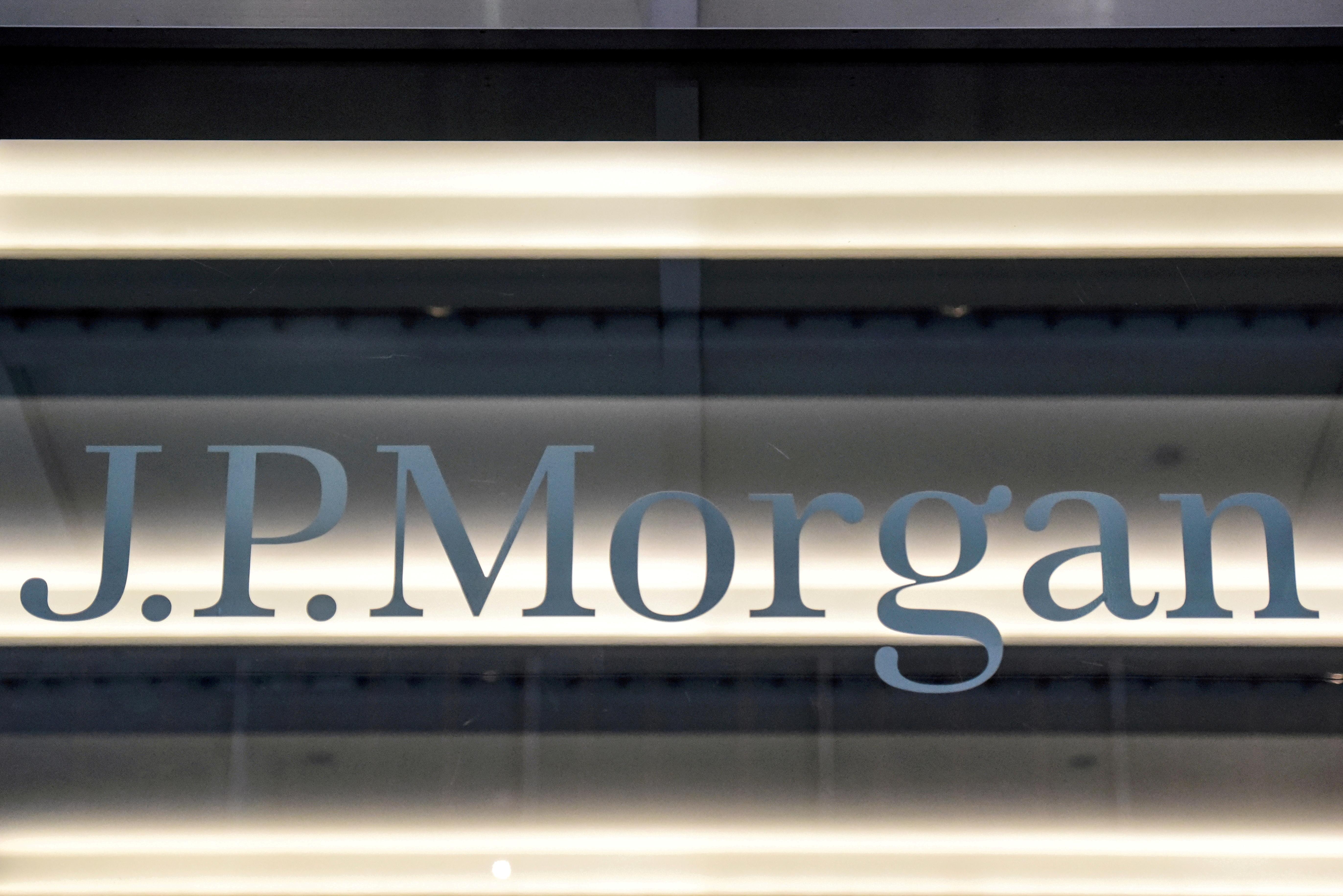 A JPMorgan logo is seen in New York City, U.S., January 10, 2017. REUTERS/Stephanie Keith/File Photo