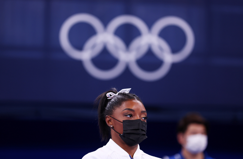 Tokyo 2020 Olympics - Gymnastics - Artistic - Women's Team - Final - Ariake Gymnastics Centre, Tokyo, Japan - July 27, 2021. Simone Biles of the United States wearing a mask REUTERS/Mike Blake