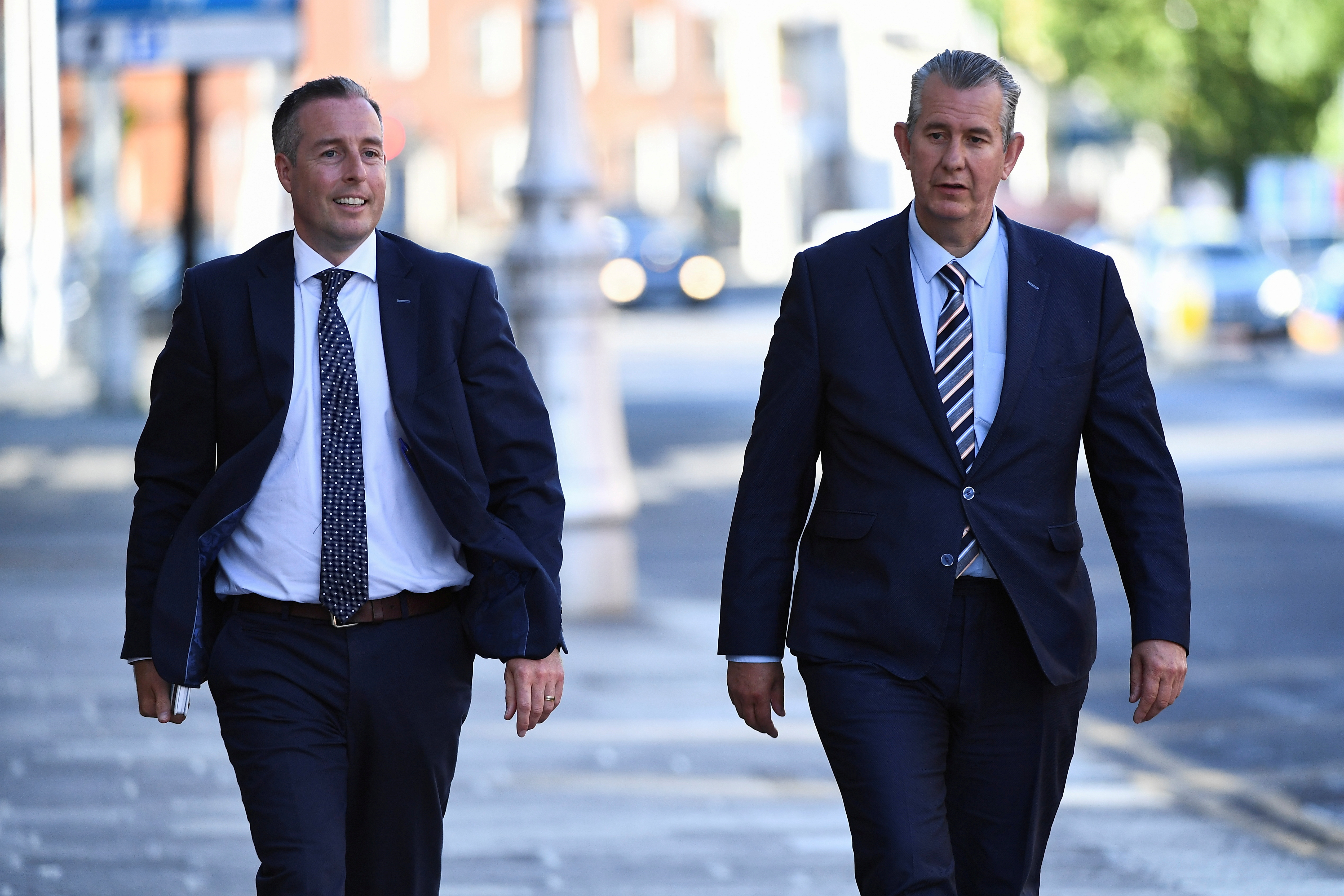Leader of the Democratic Unionist Party (DUP) Edwin Poots and Paul Givan MLA arrive at the Government Buildings in Dublin, Ireland June 3, 2021. REUTERS/Clodagh Kilcoyne/File Photo