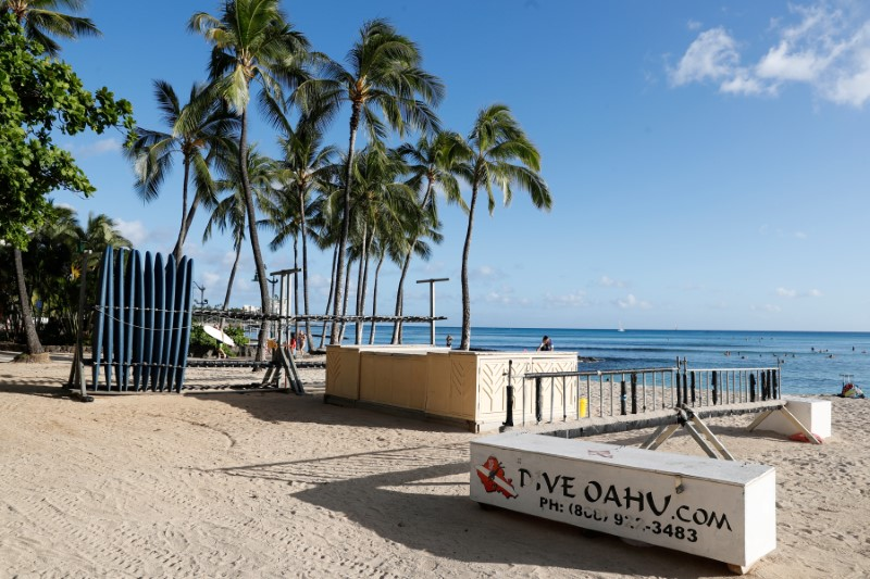 A surfboard concession stand is closed on Waikiki Beach due to the business downturn caused by the coronavirus disease (COVID-19) in Honolulu, Hawaii, U.S. April 28, 2020. Picture taken April 28, 2020. REUTERS/Marco Garcia