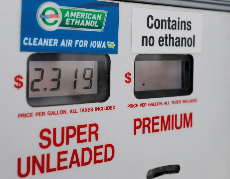 Choices at the gas pump including ethanol or no ethanol gas are seen in Des Moines, Iowa, U.S., January 29, 2020.   REUTERS/Brian Snyder/File Photo/File Photo