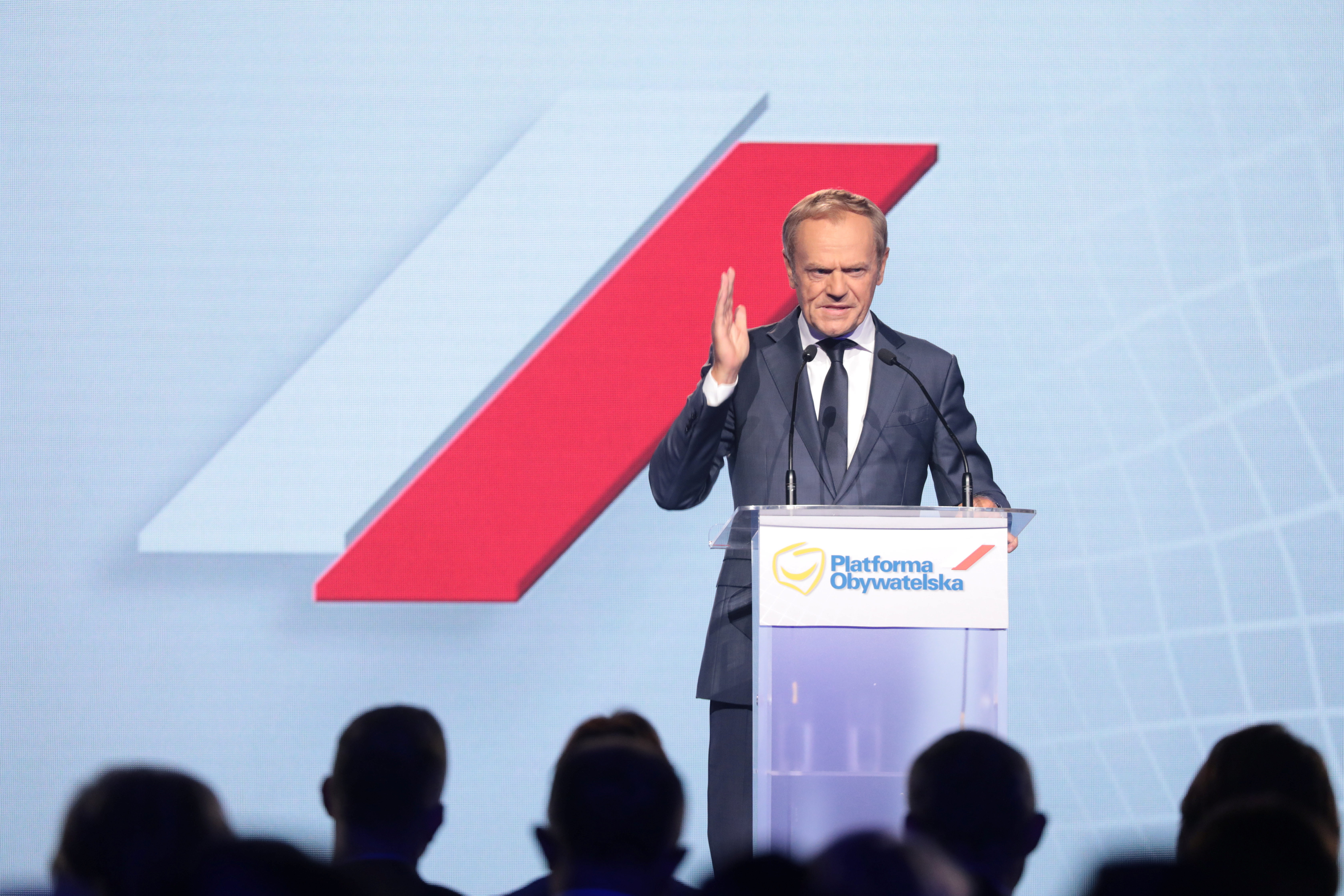 Former European Council President Donald Tusk speaks during a party convention of the main opposition Civic Platform in Warsaw, Poland July 3, 2021. Slawomir Kaminski/Agencja Gazeta via REUTERS