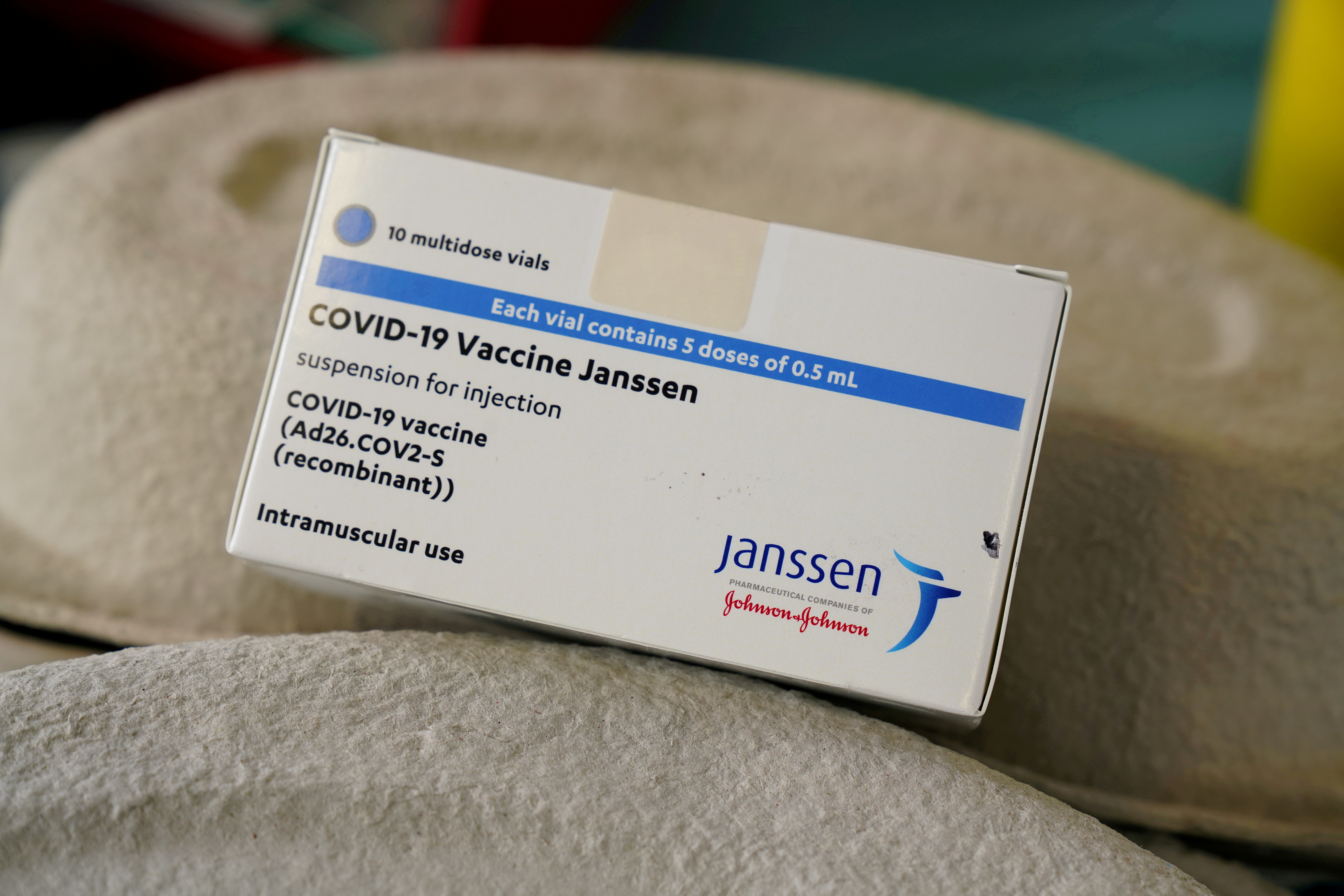 A box of Johnson & Johnson's coronavirus disease (COVID-19) vaccines is seen at the Forem vaccination centre in Pamplona, Spain, April 22, 2021.  REUTERS/Vincent West