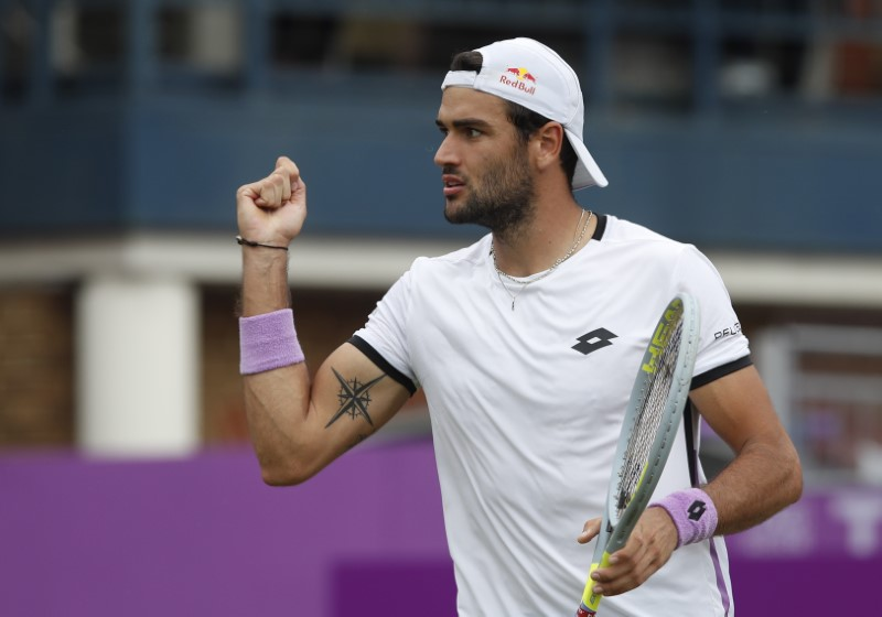 Tennis - ATP 500 - Queen's Club Championships - Queen's Club, London, Britain - June 17, 2021 Italy's Matteo Berrettini reacts during his quarter-final match against Britain's Andy Murray Action Images via Reuters/Paul Childs