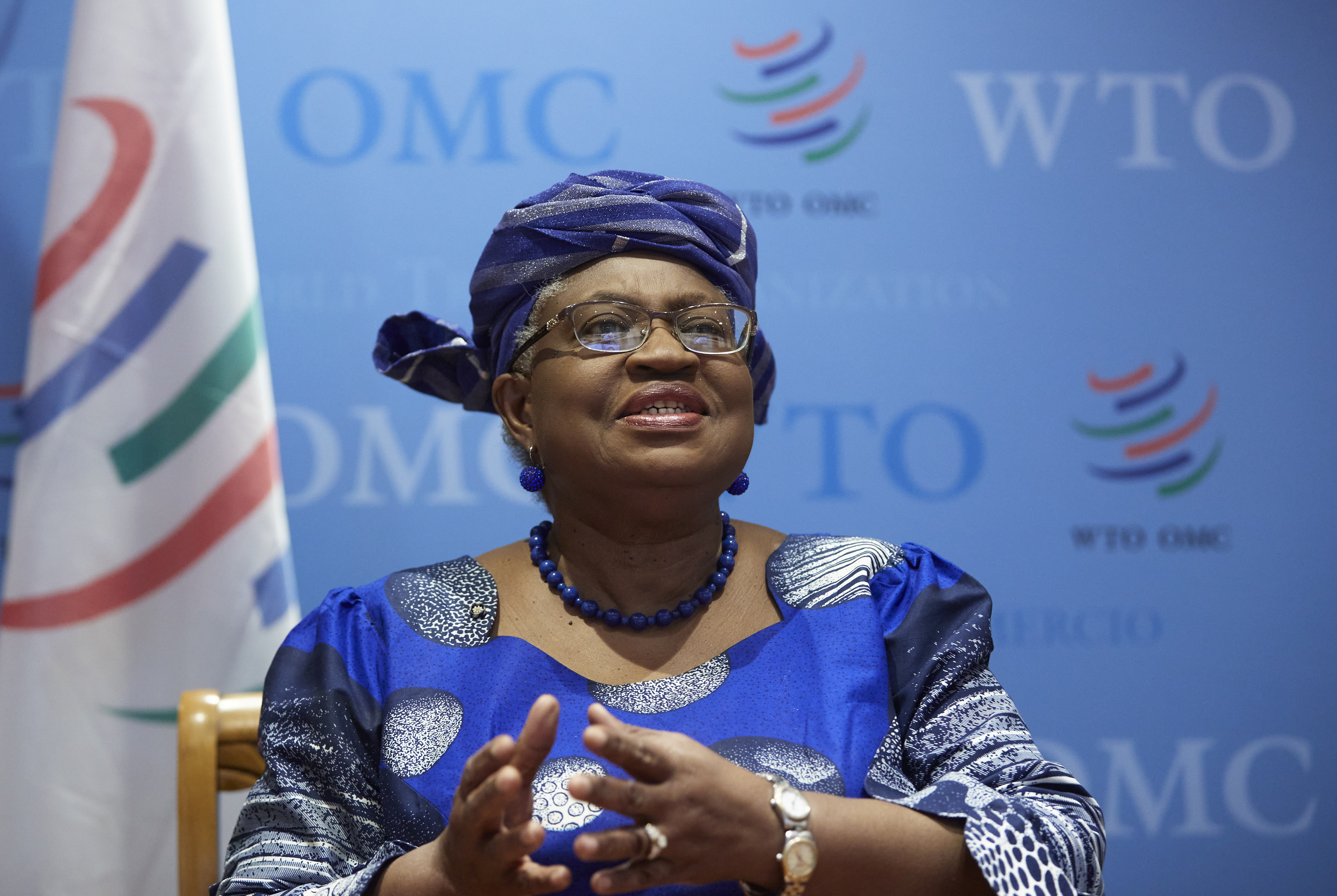 World Trade Organisation (WTO) Director-General Ngozi Okonjo-Iweala attends an interview with Reuters at the WTO headquarters in Geneva, Switzerland, April 12, 2021. REUTERS/Denis Balibouse