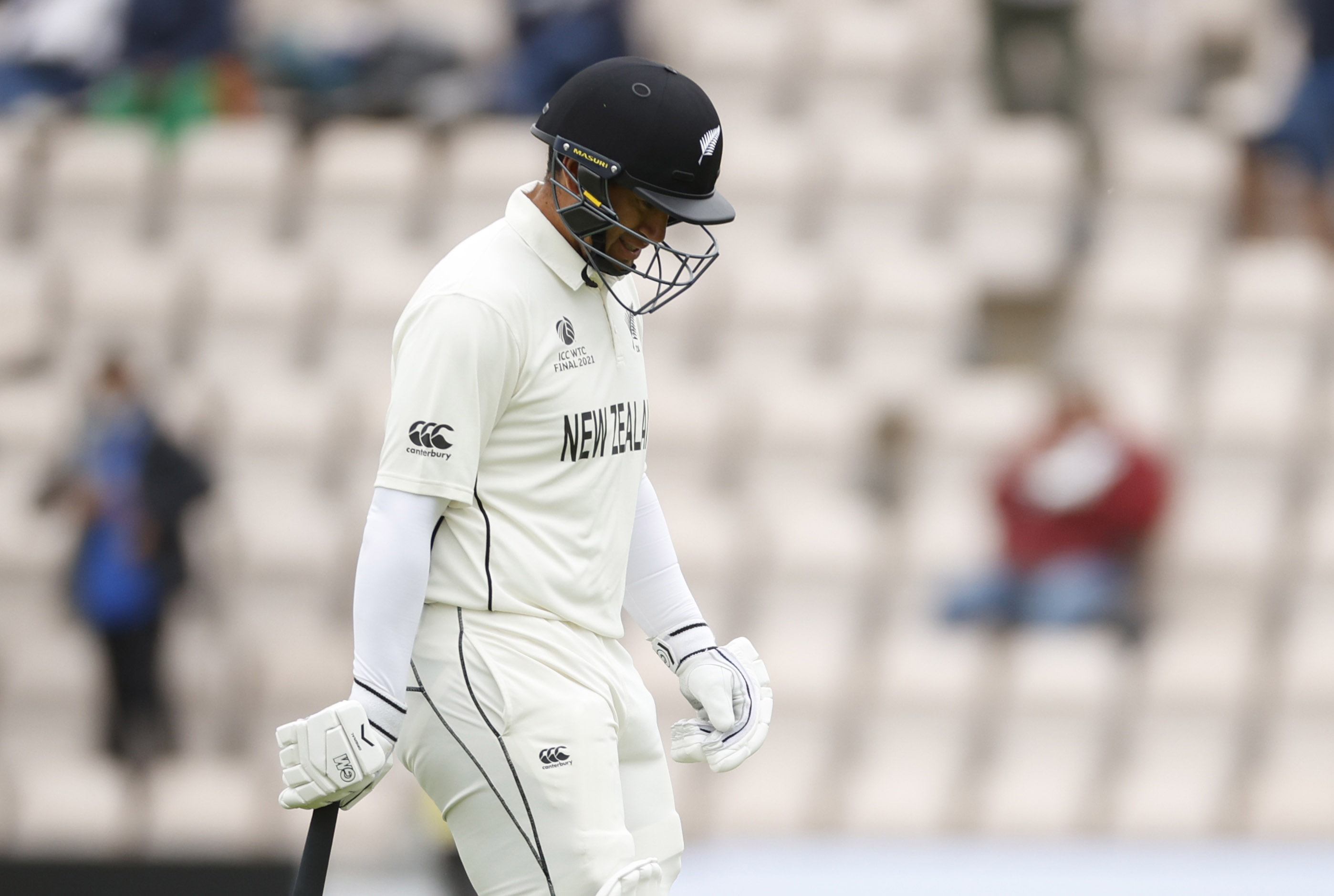 Cricket - ICC World Test Championship Final - India v New Zealand - Rose Bowl, Southampton, Britain - June 22, 2021 New Zealand's Ross Taylor walks after losing his wicket Action Images via Reuters/John Sibley