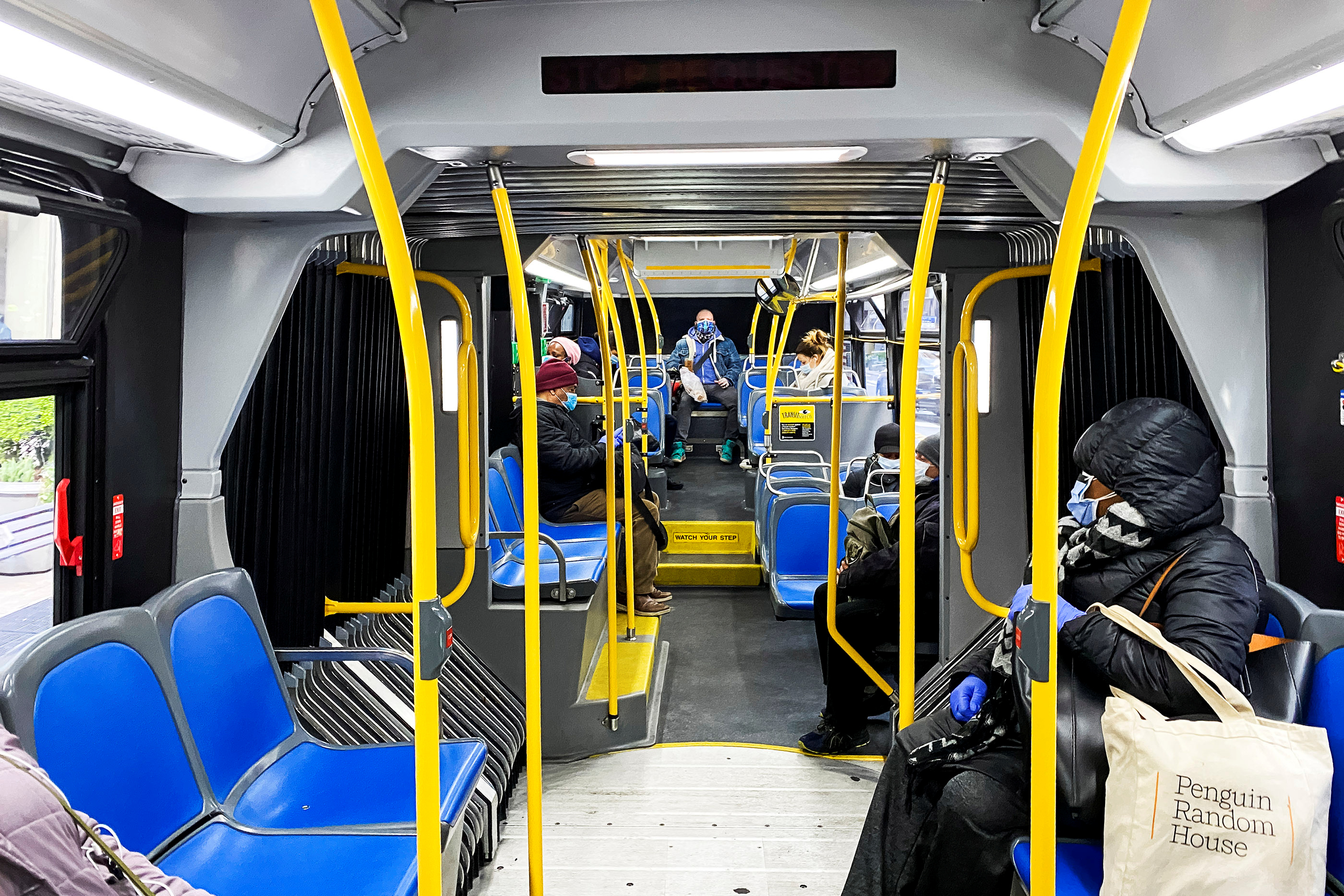 People try to keep social distance as they use the New York City The Metropolitan Transportation Authority (MTA) bus system during the outbreak of the coronavirus disease (COVID-19) in New York City, New York, U.S., April 22, 2020. REUTERS/Eduardo Munoz