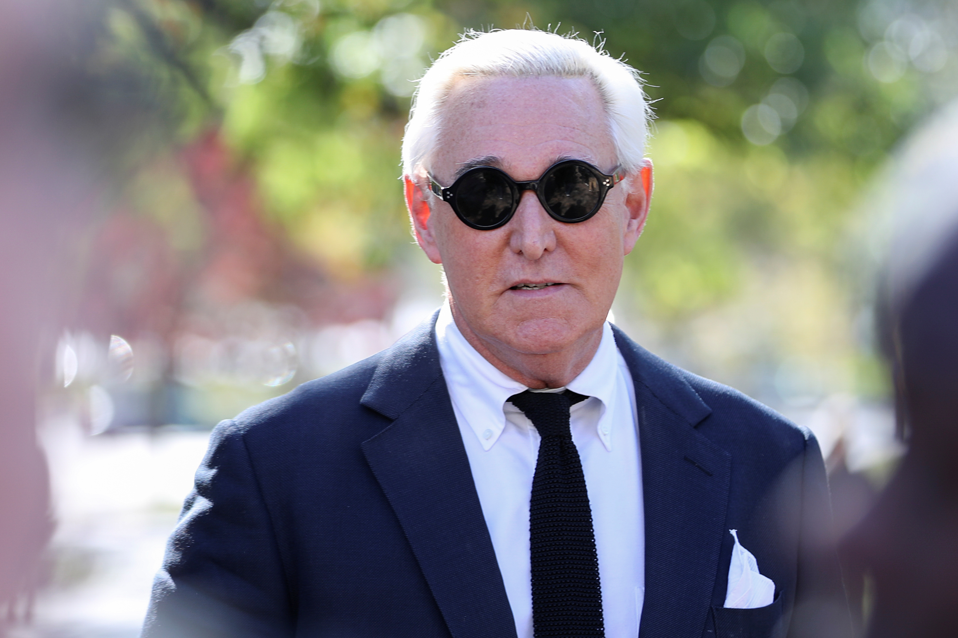 Roger Stone, former campaign adviser to U.S. President Donald Trump, departs following a pre-trial hearing at U.S. District Court in Washington, U.S., November 4, 2019. REUTERS/Siphiwe Sibeko