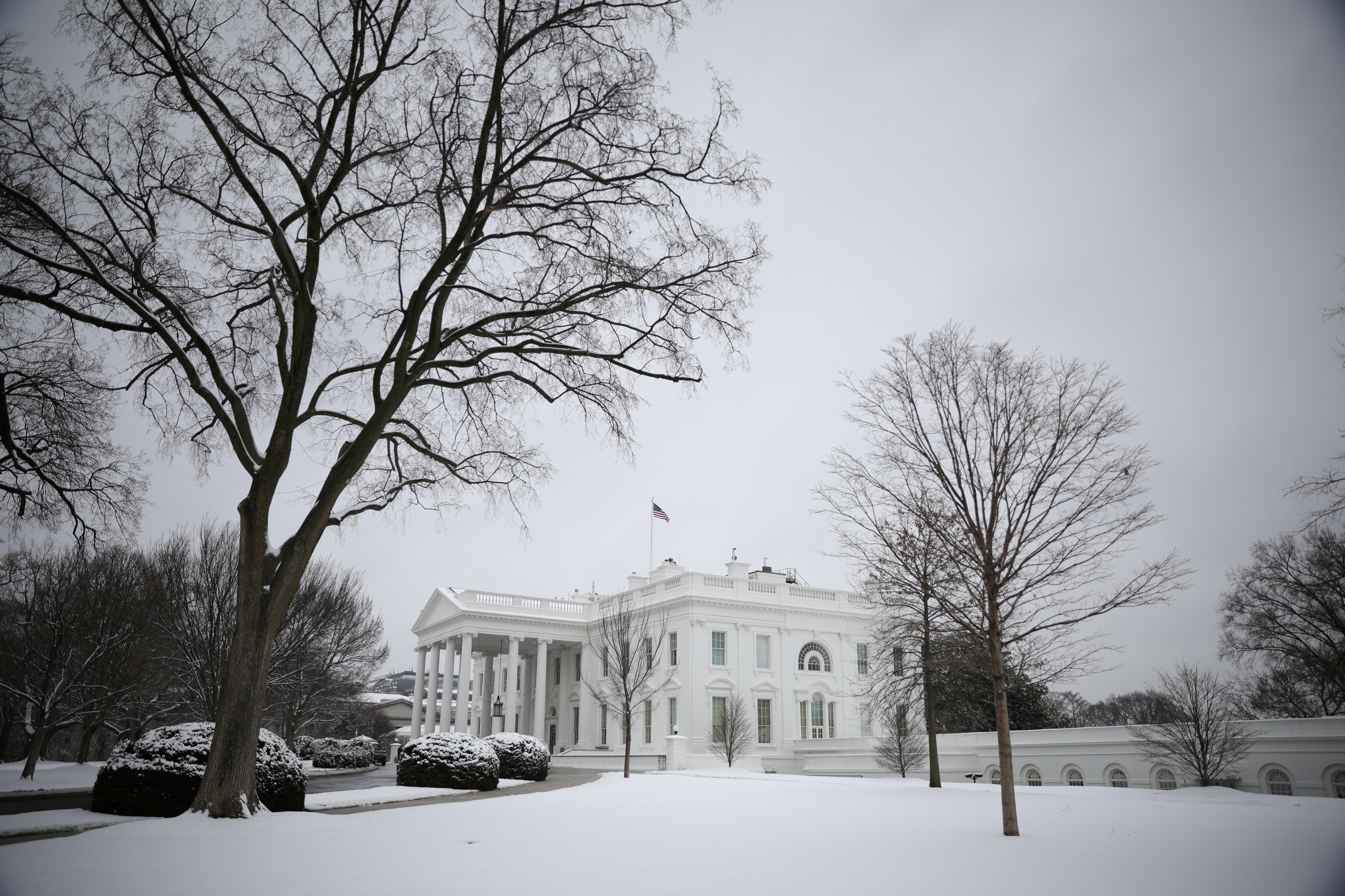 Snow from a previous day storm is seen blanketed across the White House North Lawn in Washington, U.S., February 1, 2021. REUTERS/Tom Brenner